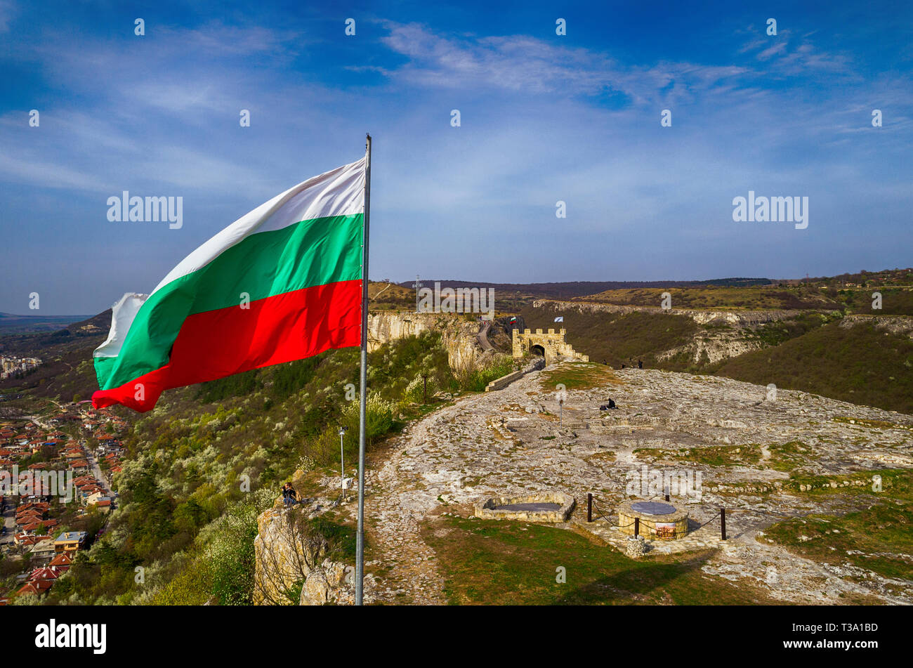 National flag of Bulgaria on a flagpole, drone view,located on a fortress Ovech - Stock Image