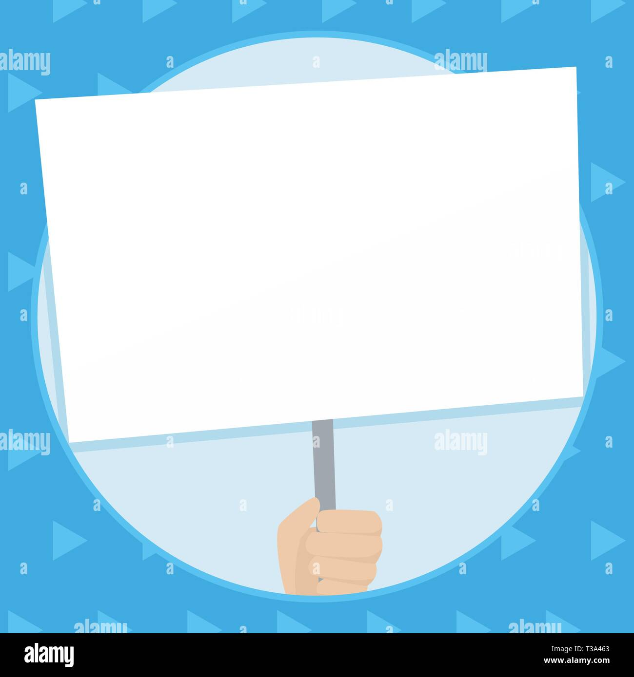 Hand Holding Blank White Placard Supported by Handle for Social Awareness Design business concept Empty template copy space text for Ad website isolat - Stock Vector