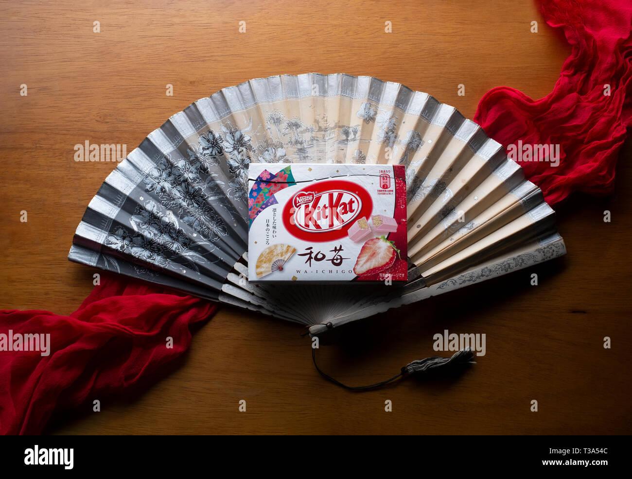 A Japanese 'Waichigo' Strawberry Kit Kat - Stock Image