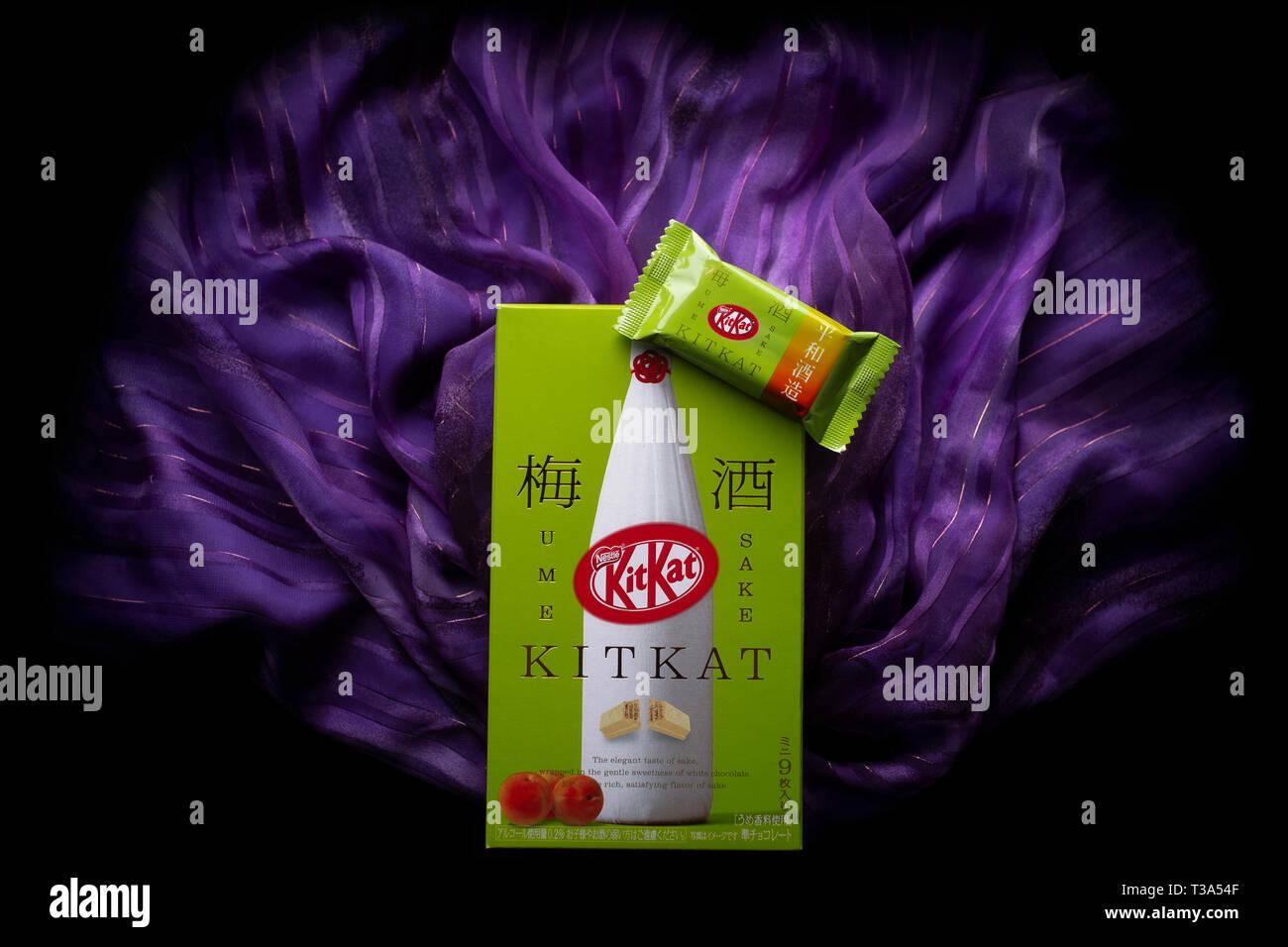 A Japanese Plum Sake Kit Kat - Stock Image
