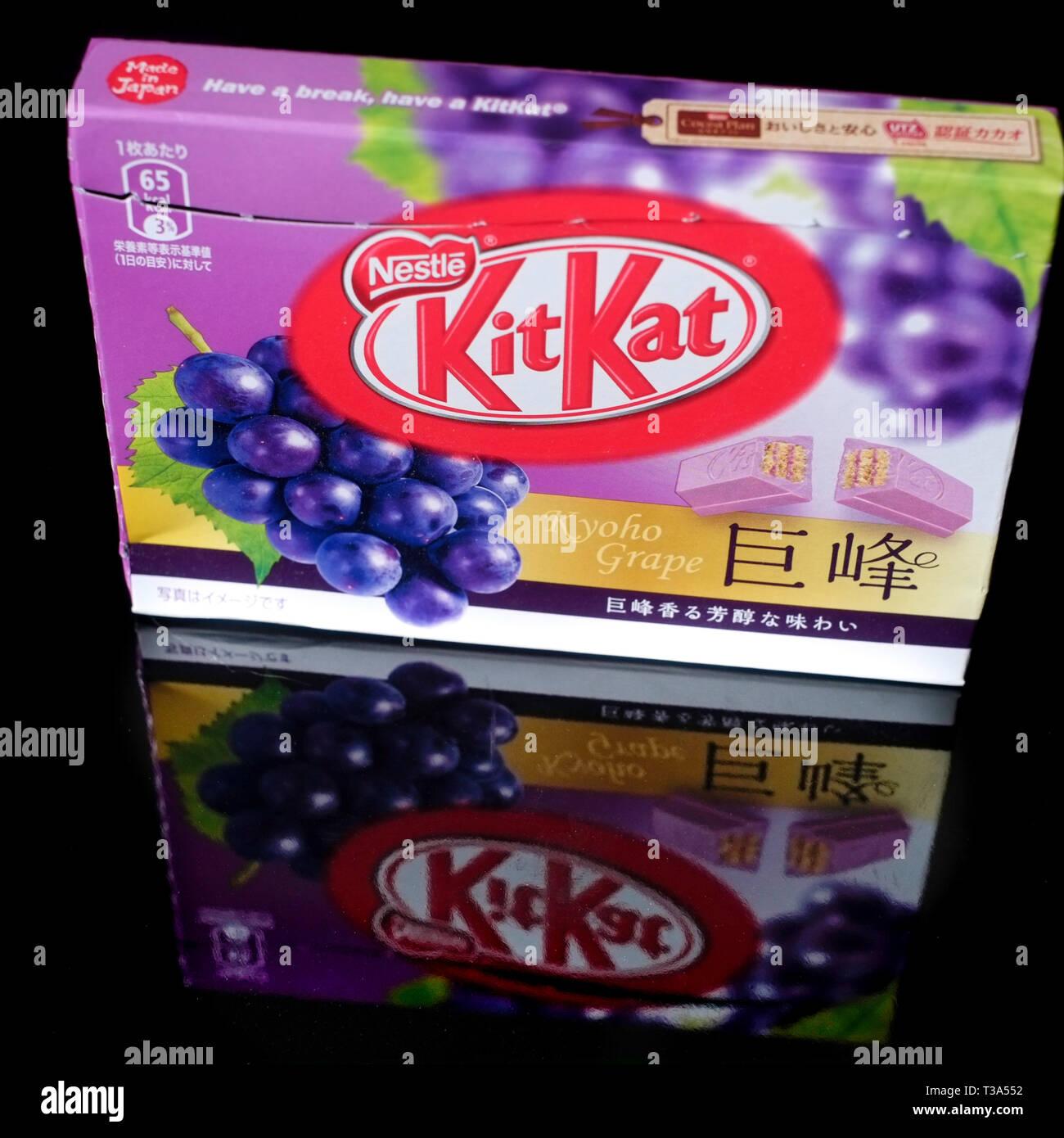 A Japanese Kyoho Grape Kit Kat. - Stock Image