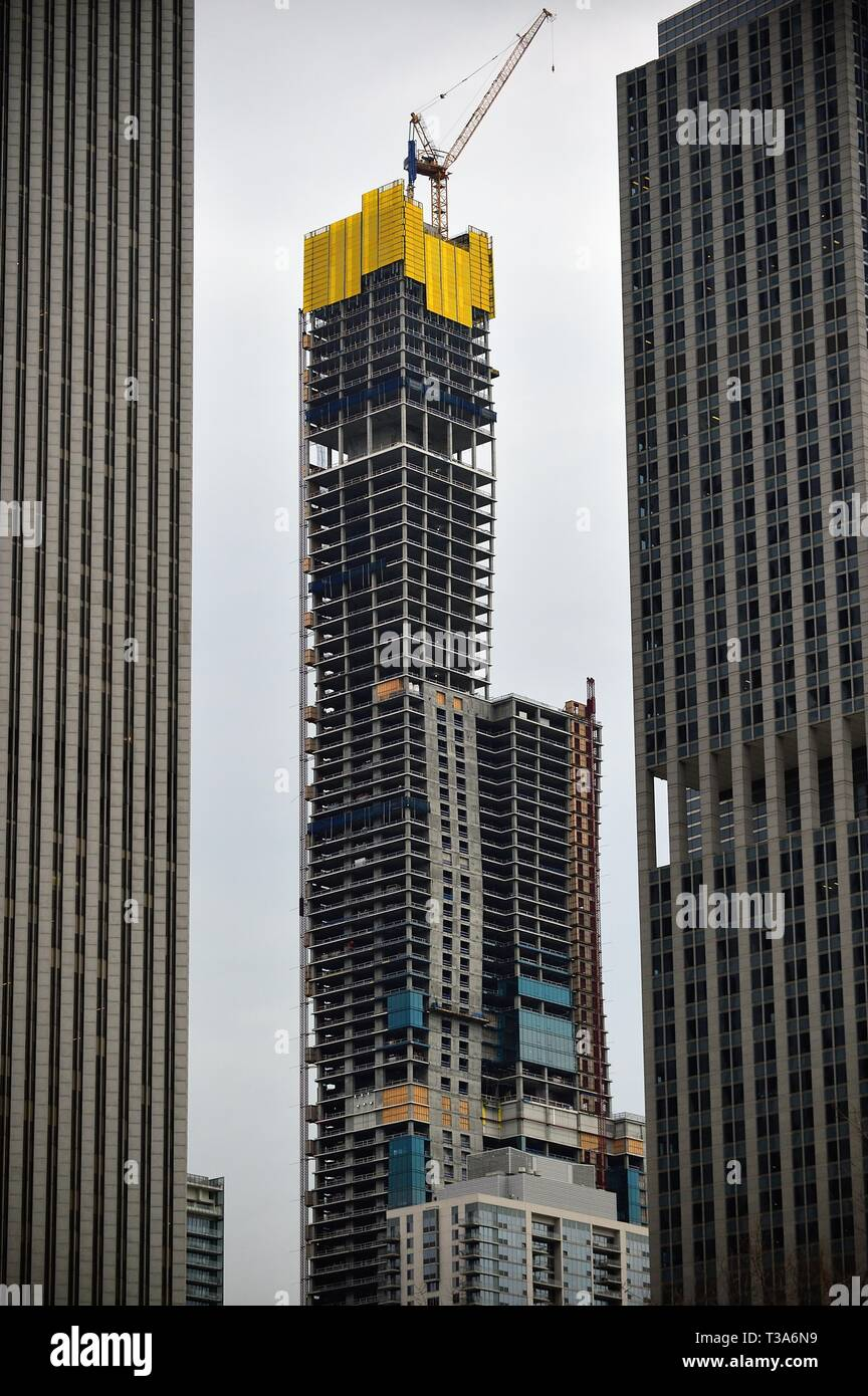 Chicago, Illinois, USA. The under construction Vista Tower located between Millennium Park and the Chicago River taking shape while under construction. Stock Photo