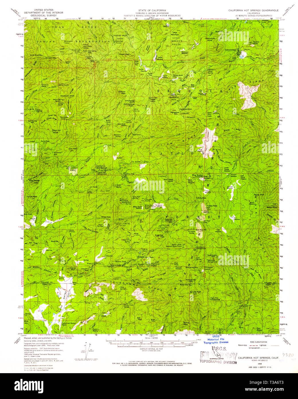 USGS TOPO Map California CA California Hot Springs 296973 1958 62500 California Hot Springs Map on