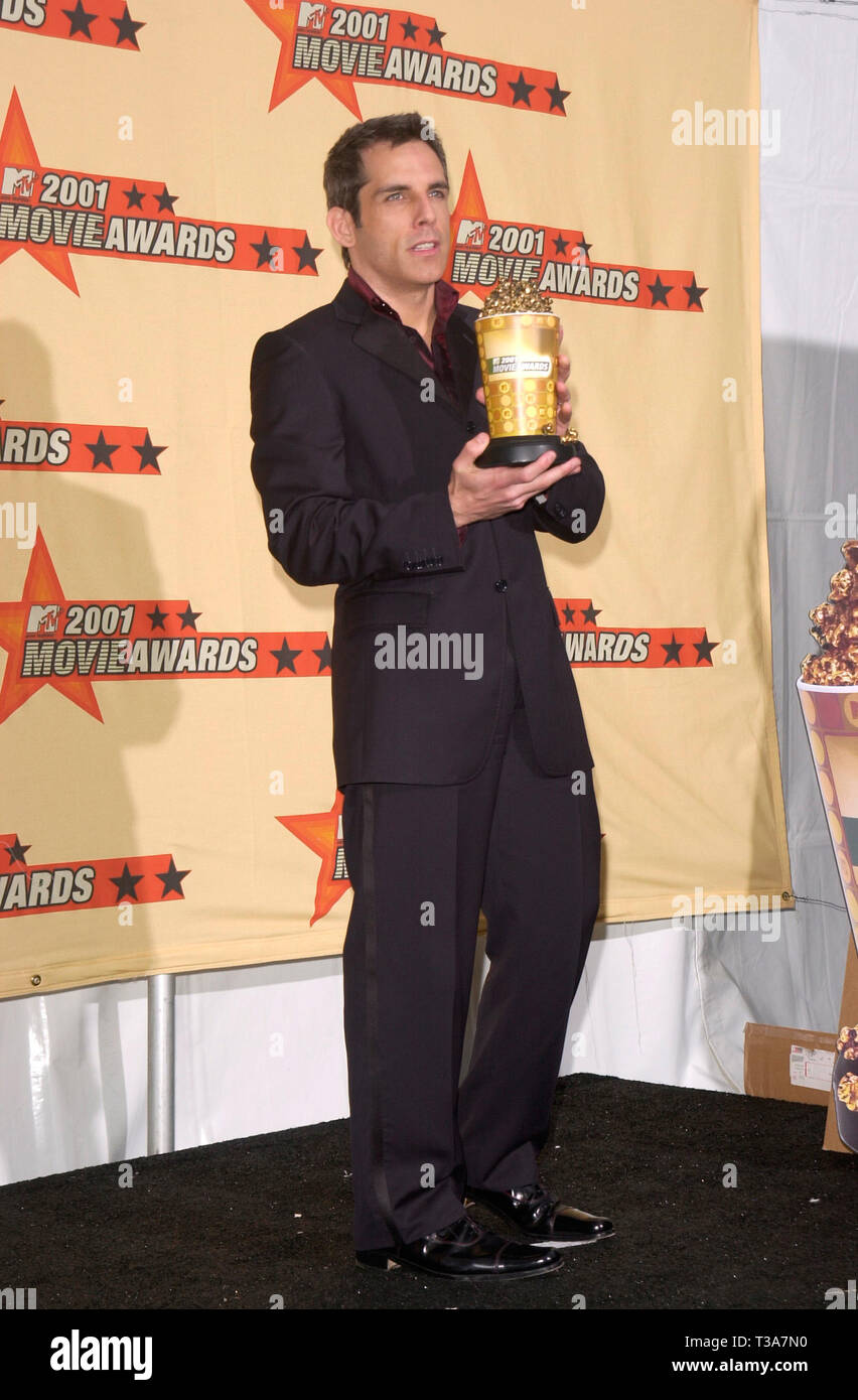 LOS ANGELES, CA. June 02, 2001: Actor BEN STILLER at the MTV Movie Awards in Los Angeles.  He won the award for Best Comedic Performance for Meet the Parents. Stock Photo