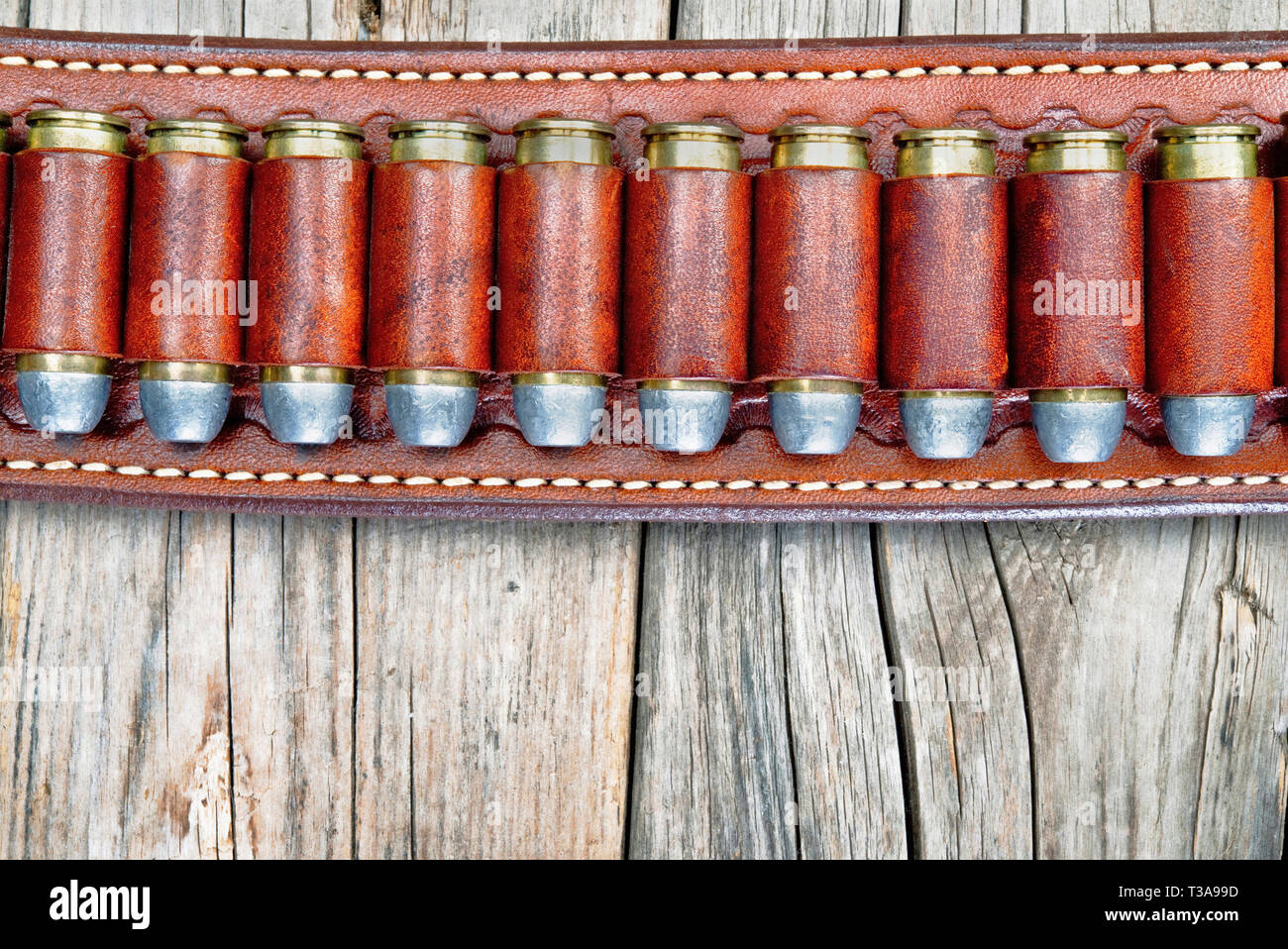 Western cowboy 45 bullets with room for your type ,will work great vertical or horizonal. - Stock Image