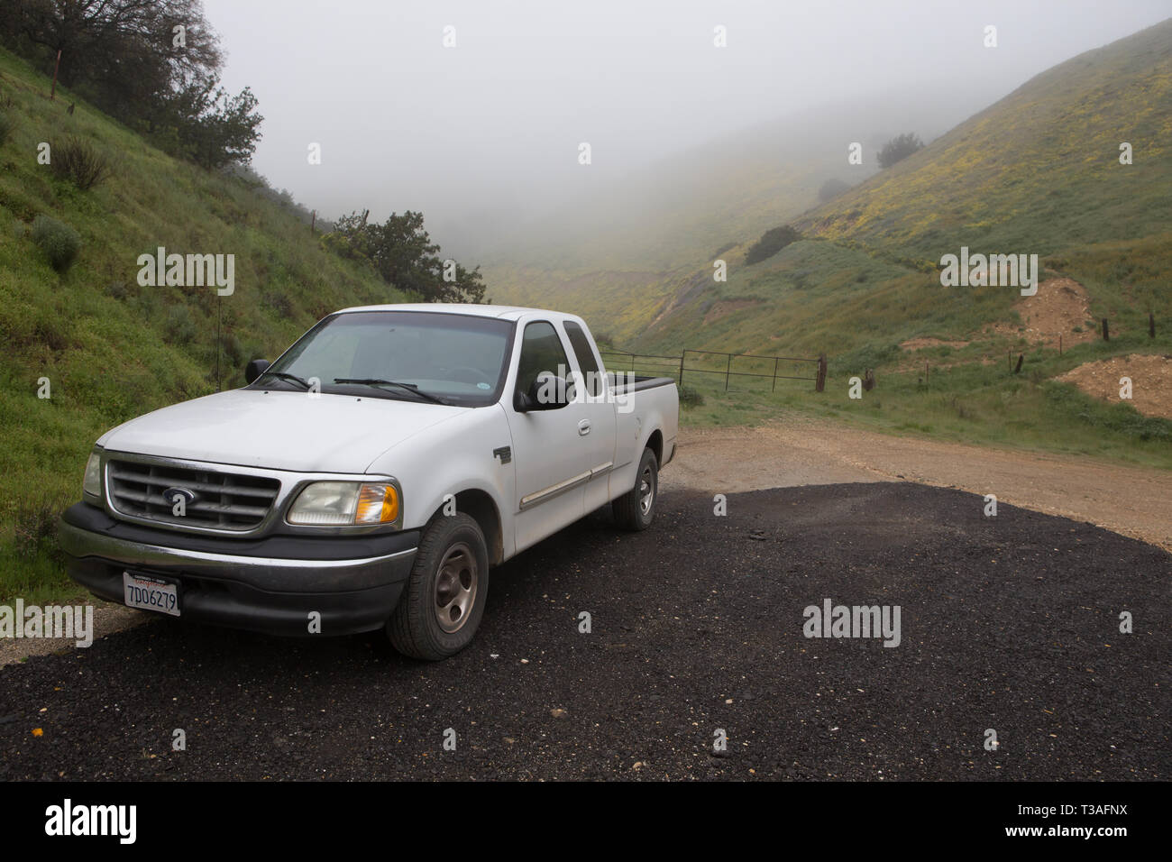 White Ford F150 Pickup Truck Parked Alongside A Turnout On A Road Stock Photo Alamy