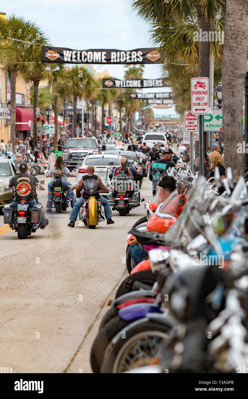 Daytona Beach, FL - 12 March 2016: Bikers cruising along Main Street during the 75th Annual Bike Week at the World's Most Famous Beach. Stock Photo