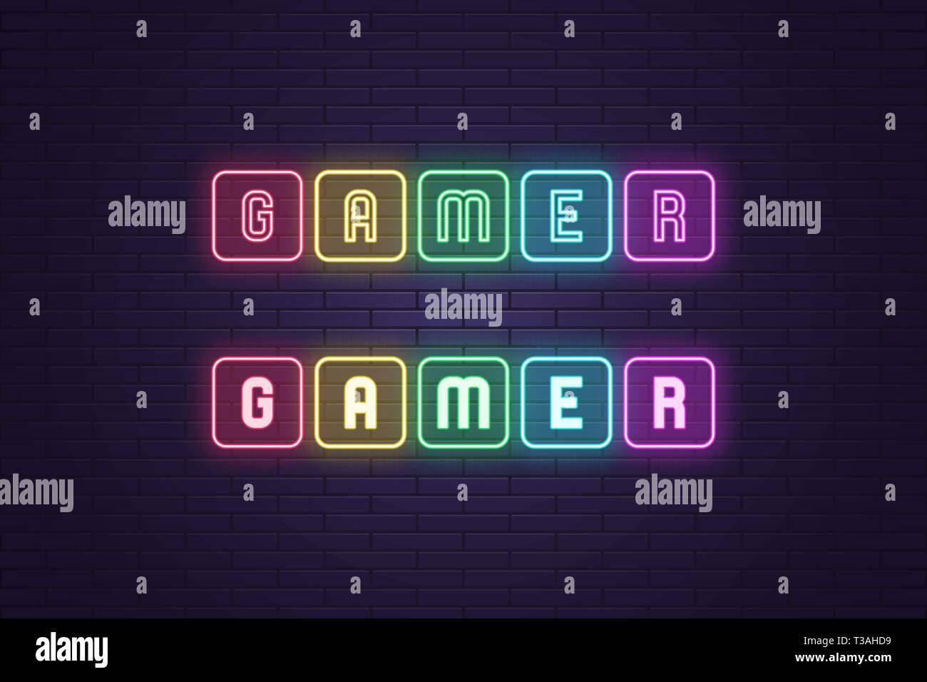 Neon composition of text Gamer  Vector illustration of neon