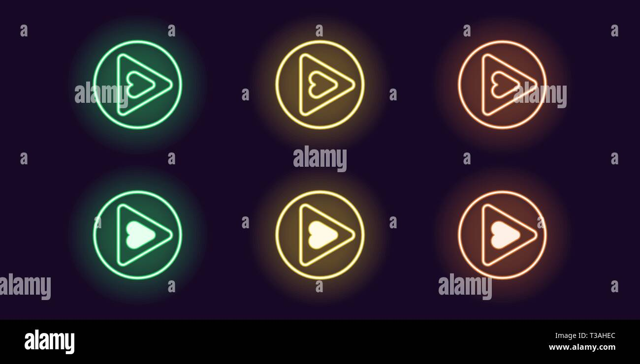 Neon icon set of Play button. Vector illustration of round neon Play sign with Heart inside. Isolated glowing outline icon, sign symbol. Green, yellow - Stock Image