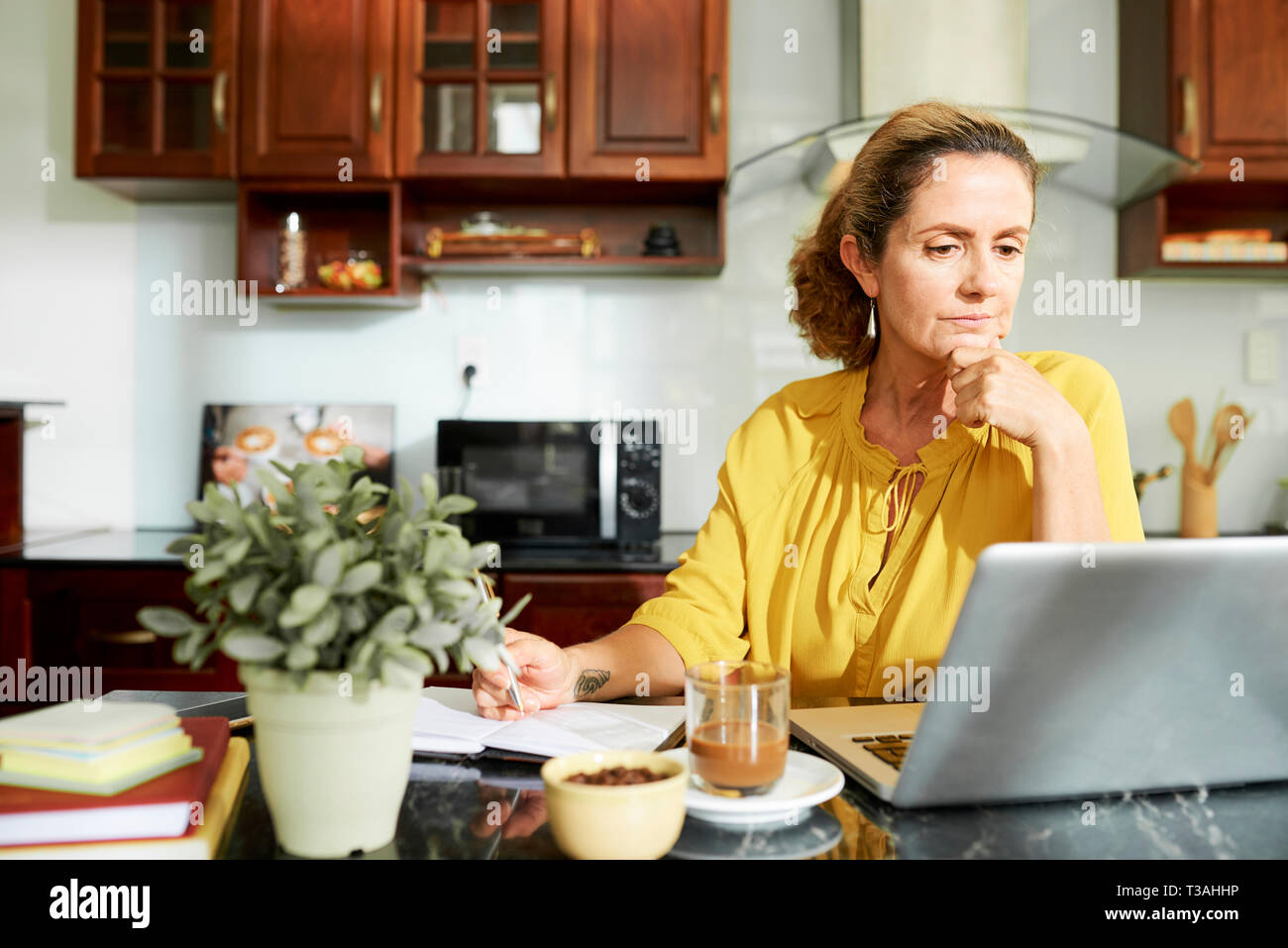 Mature housewife working on laptop - Stock Image