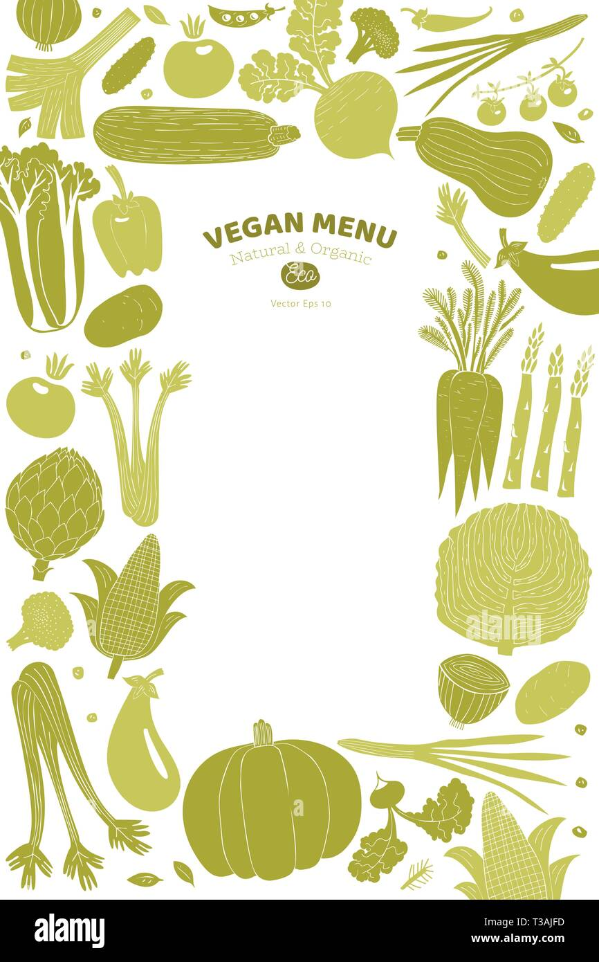 Cartoon Hand Drawn Vegetables Design Template Food Background Linocut Style Healthy Food Vector Illustration Stock Vector Image Art Alamy