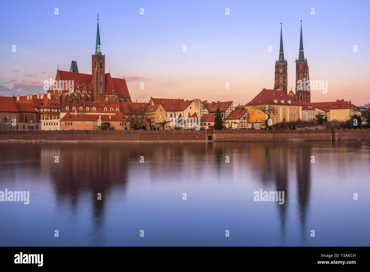 Ostrow Tumsky (Cathedral Island) soon after sunset, Wroclaw. Stock Photo