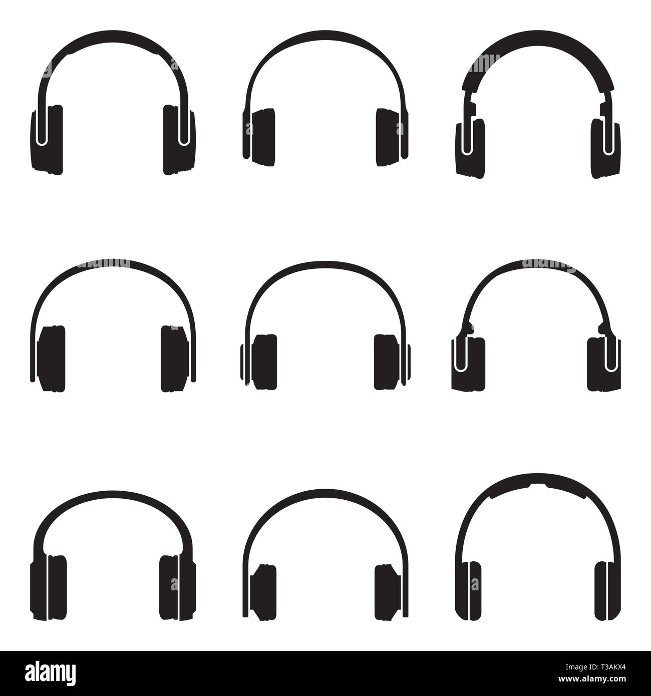 Various types of headphone. Silhouette vector icons - Stock Image