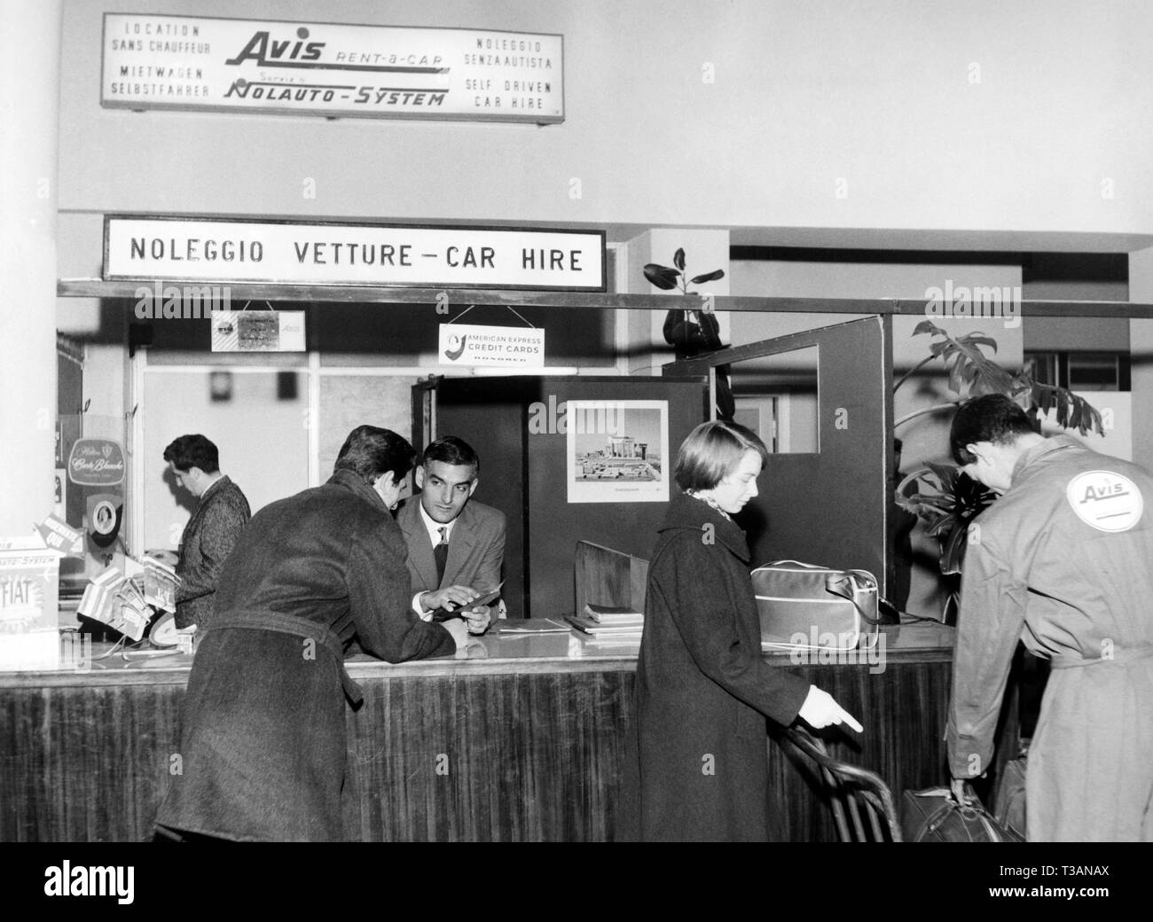 linate airport, car hire, 1963 - Stock Image
