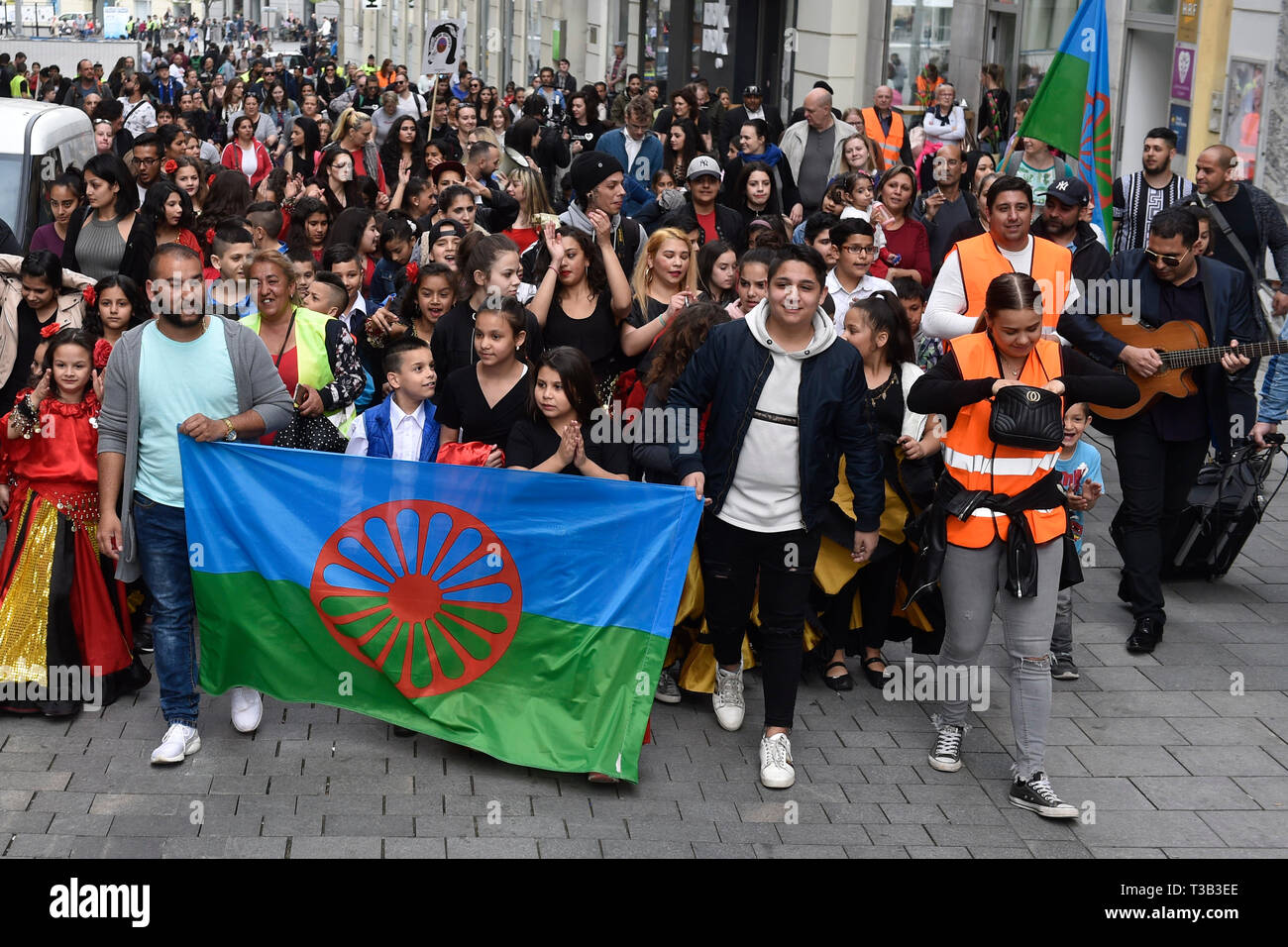 Brno, Czech Republic. 08th Apr, 2019. People attend Roma Pride march organised within Week of Roma Culture, on International Romani Day, April 8, 2019, in Brno, Czech Republic. Credit: Vaclav Salek/CTK Photo/Alamy Live News - Stock Image