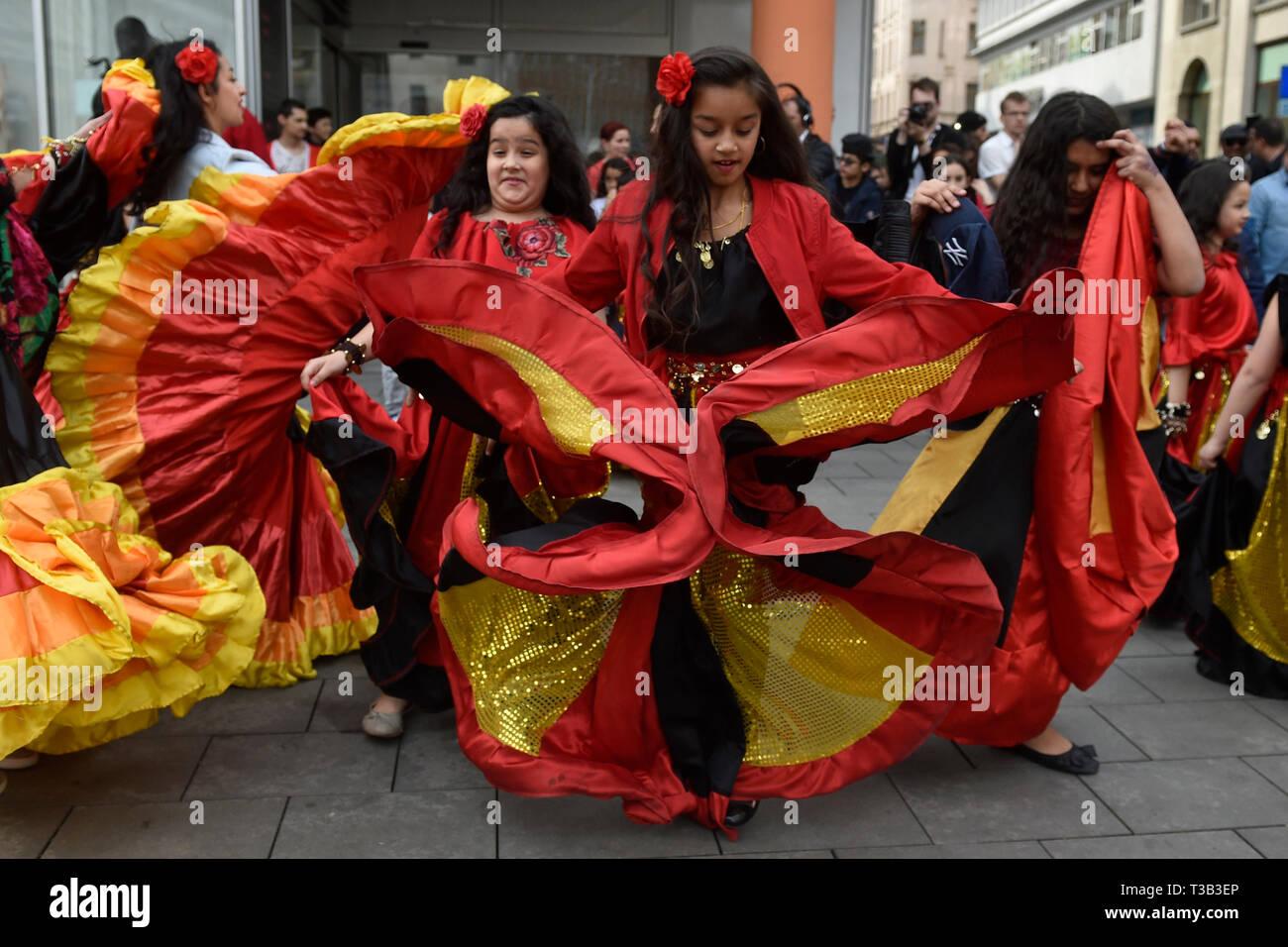 Brno, Czech Republic. 08th Apr, 2019. Girls attend Roma Pride march organised within Week of Roma Culture, on International Romani Day, April 8, 2019, in Brno, Czech Republic. Credit: Vaclav Salek/CTK Photo/Alamy Live News - Stock Image