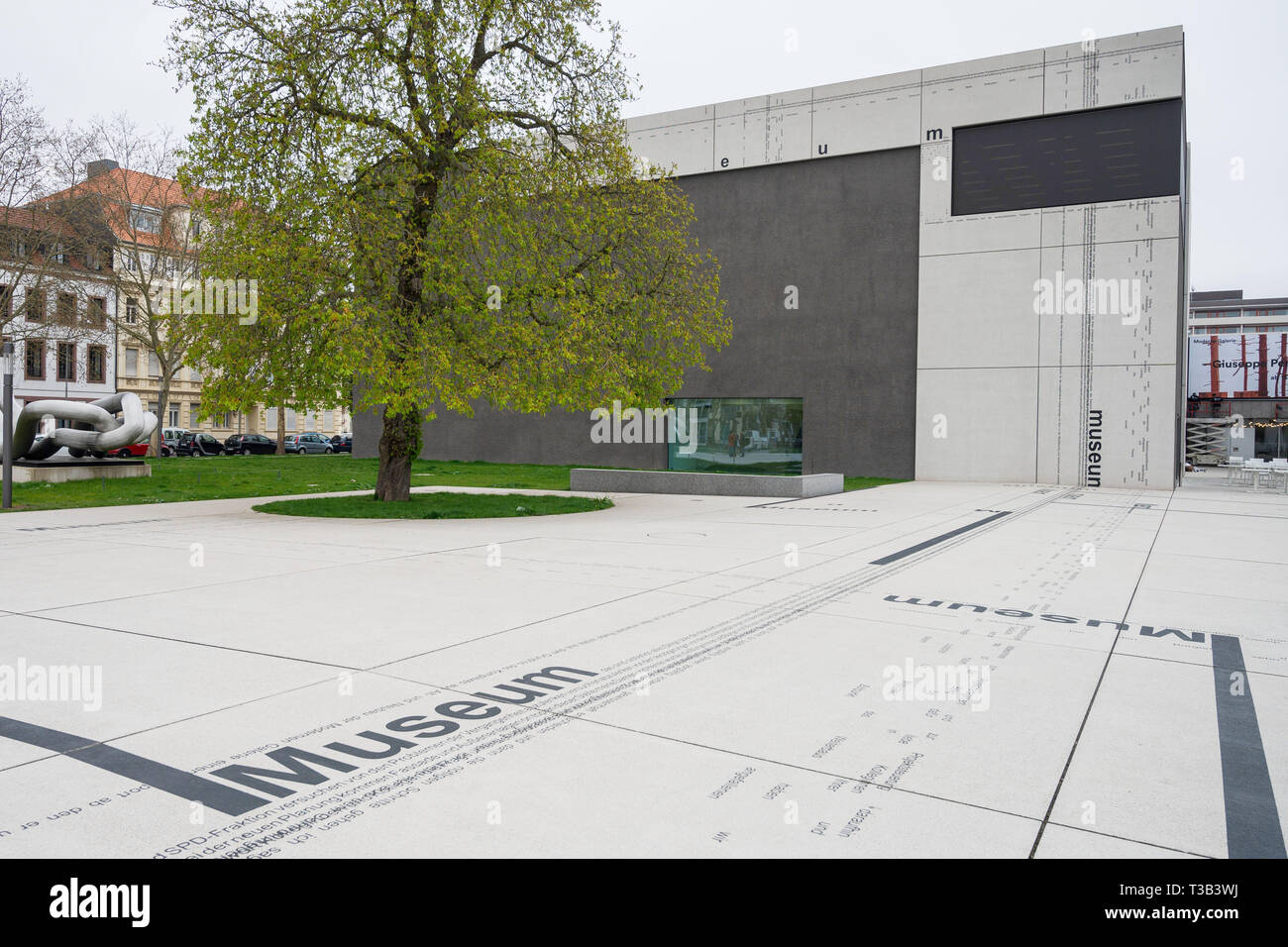 08 April 2019, Saarland, Saarbrücken: The forecourt of the Modern Gallery of the Saarlandmuseum was designed by the artist Michael Riedel. Photo: Oliver Dietze/dpa Stock Photo