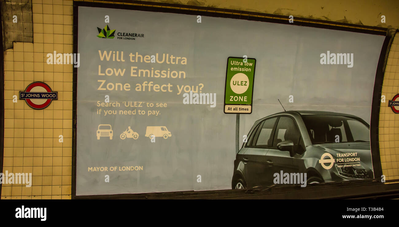 London, UK. thththth April, 2019. Advertising boards on the London Underground announce the arrival of the new  'Ultra Low Emission Zone' (ULEZ). Transport for London introduced the ULEZ with new signage in central London  The ULEZ, which came into affect on thththth April 2019 will cover the same area as the London Congestion Zone and will be expanded in late 2021 to the area bounded by the North & South Circular roads ( the same area as the current Low Emission Zone. Credit: David Rowe/Alamy Live News - Stock Image