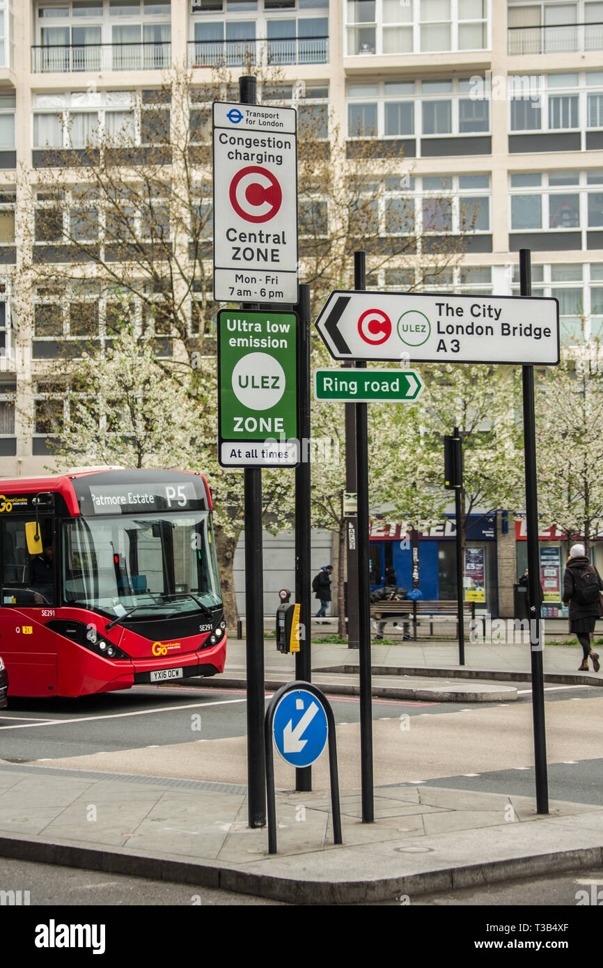 London, UK. 8th April, 2019. Transport for London introduce the new 'Ultra Low Emission Zone' (ULEZ) with new signage in central London (here at the Elephant and Castle in South London). The ULEZ, which came into affect on 8th April 2019 covers the same area as the London Congestion Zone and will be expanded in late 2021 to the area bounded by the North & South Circular roads ( the same area as the current Low Emission Zone. - Stock Image