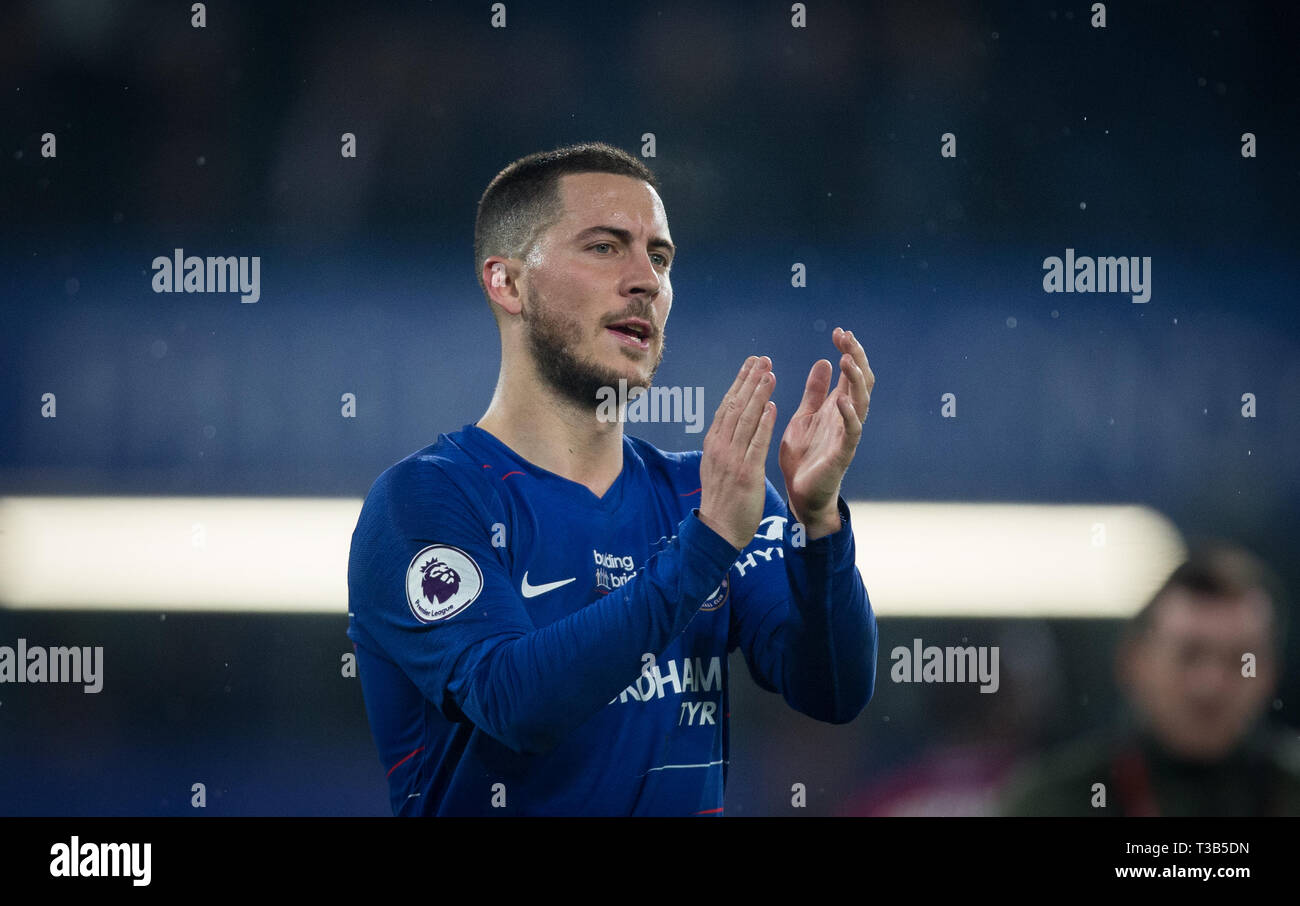 London, UK. 08th Apr, 2019. Eden HAZARD of Chelsea during the Premier League match between Chelsea and West Ham United at Stamford Bridge, London, England on 8 April 2019. Photo by Andy Rowland. Credit: PRiME Media Images/Alamy Live News Stock Photo