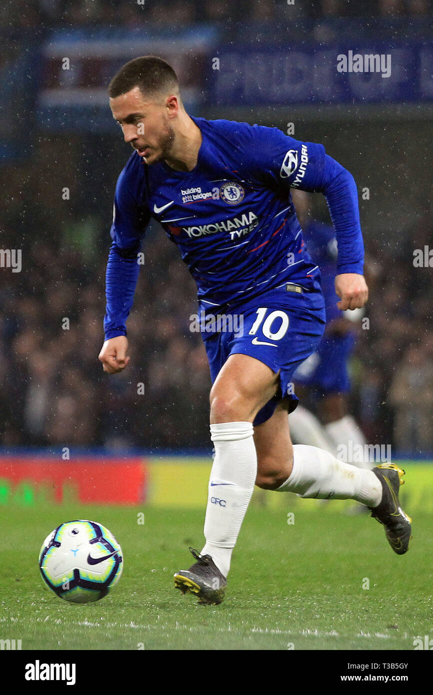 London, UK. 08th Apr, 2019. Eden Hazard of Chelsea in action. Premier League match, Chelsea v West Ham United at Stamford Bridge in London on Monday 8th April 2019. this image may only be used for Editorial purposes. Editorial use only, license required for commercial use. No use in betting, games or a single club/league/player publications. pic by Steffan Bowen/ Credit: Andrew Orchard sports photography/Alamy Live News Stock Photo