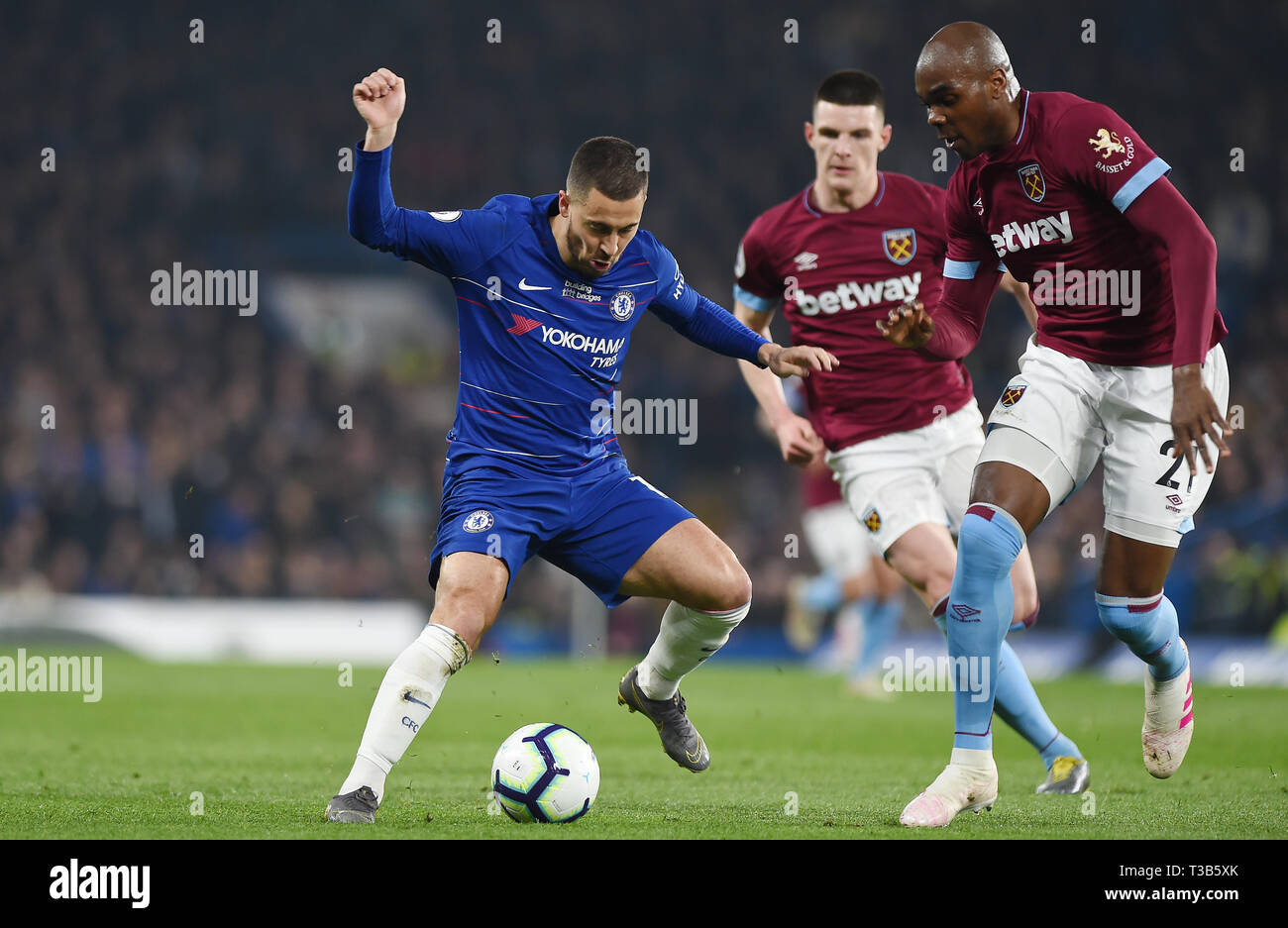 London, UK. 08th Apr, 2019. Eden Hazard of Chelsea during the Premier League match between Chelsea and West Ham United at Stamford Bridge on April 8th 2019 in London, England. (Photo by Zed Jameson/phcimages.com) Credit: PHC Images/Alamy Live News Stock Photo