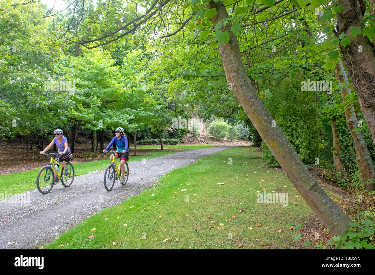 Cyclists in Oamaru Public Gardens, one of the final stretches of the Alps 2 Ocean cycle trail - Stock Image