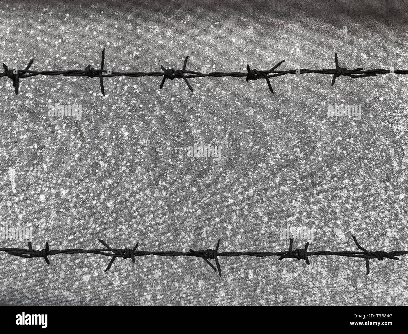 2 barbed wires on the black dirty board. - Stock Image