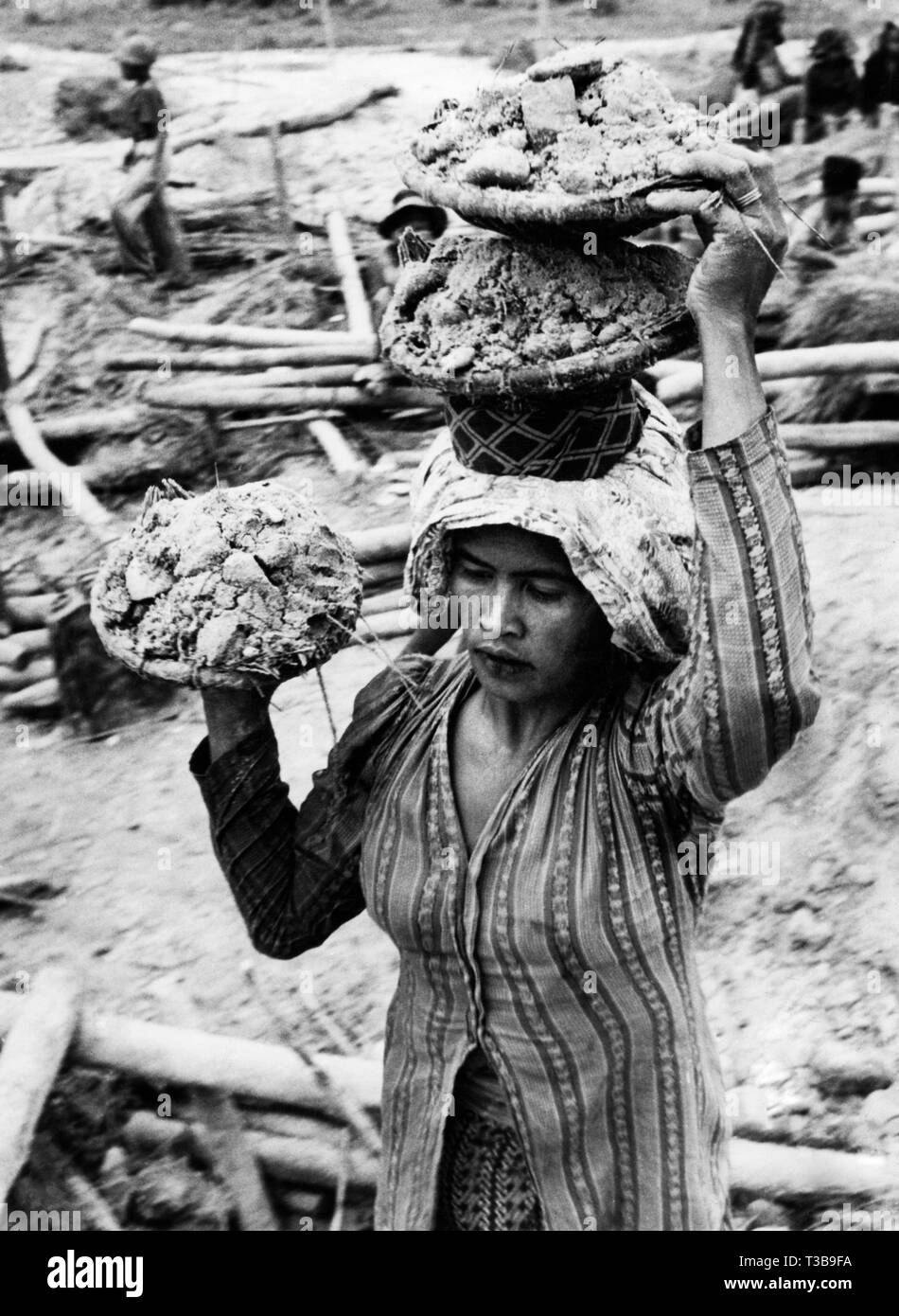 British Asia, Borneo, a gold digger carries sand for sifting, 1955 - Stock Image