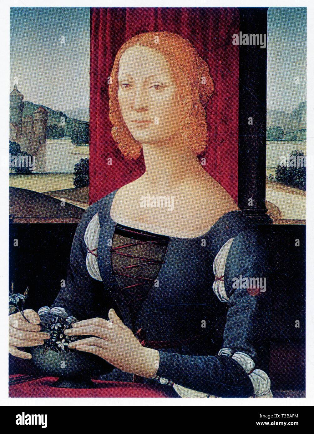 LORENZO DI CREDI.PORTRAIT OF A WOMAN.1490.TEMPERA ON WOOD.75 CM X 54 CM - Stock Image