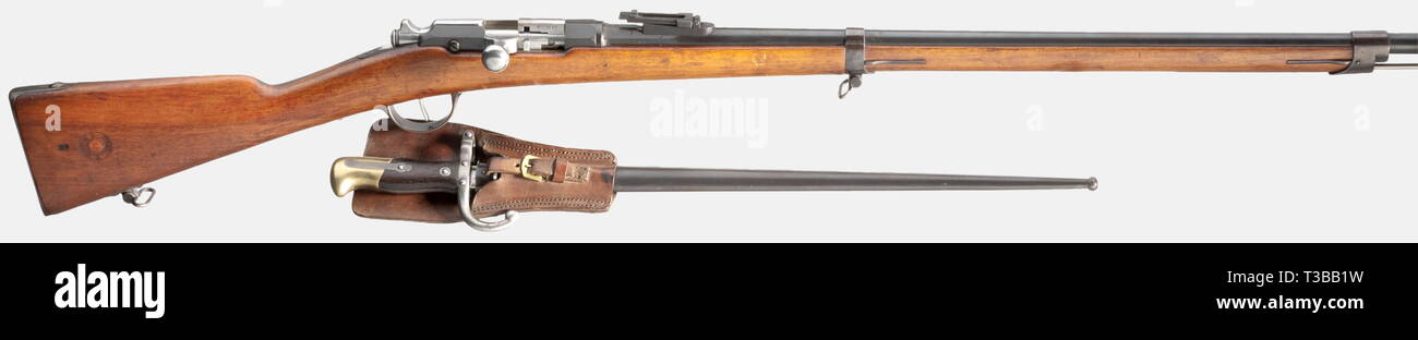 SERVICE WEAPONS, FRANCE, rifle Gras M 1874 with bayonet, calibre 11 mm, number 6729, Additional-Rights-Clearance-Info-Not-Available - Stock Image