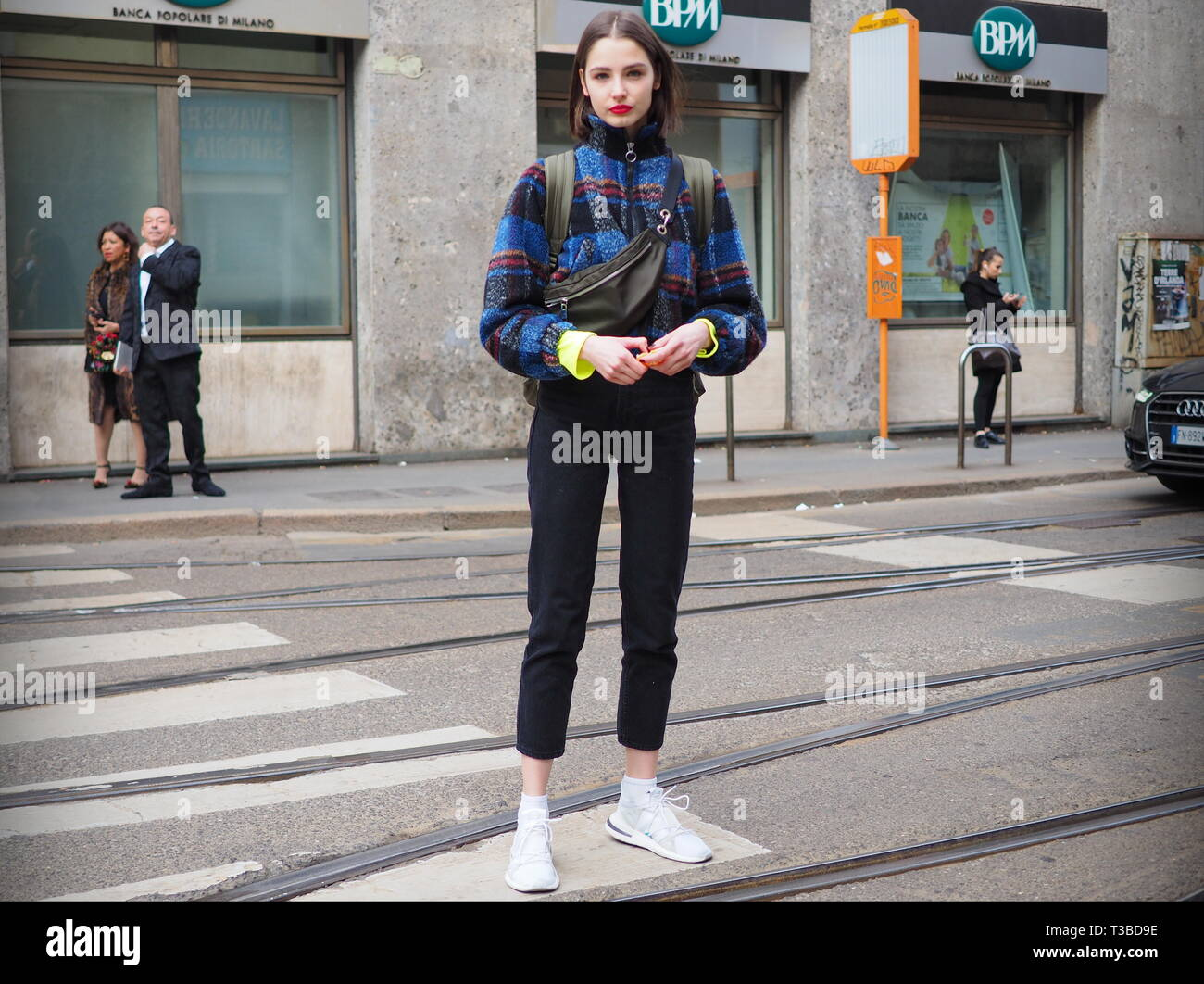 Urban Fashion 2020.Milan Italy 24 February 2019 Young Model Street Style