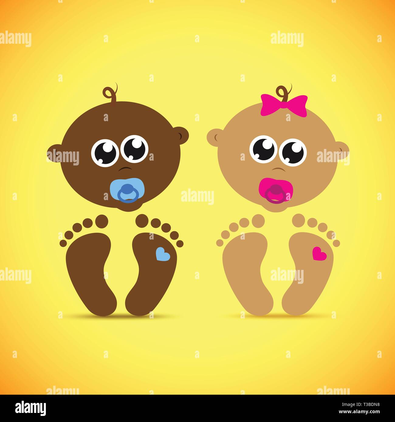 cute newborn baby boy and girl vector illustration EPS10 - Stock Vector