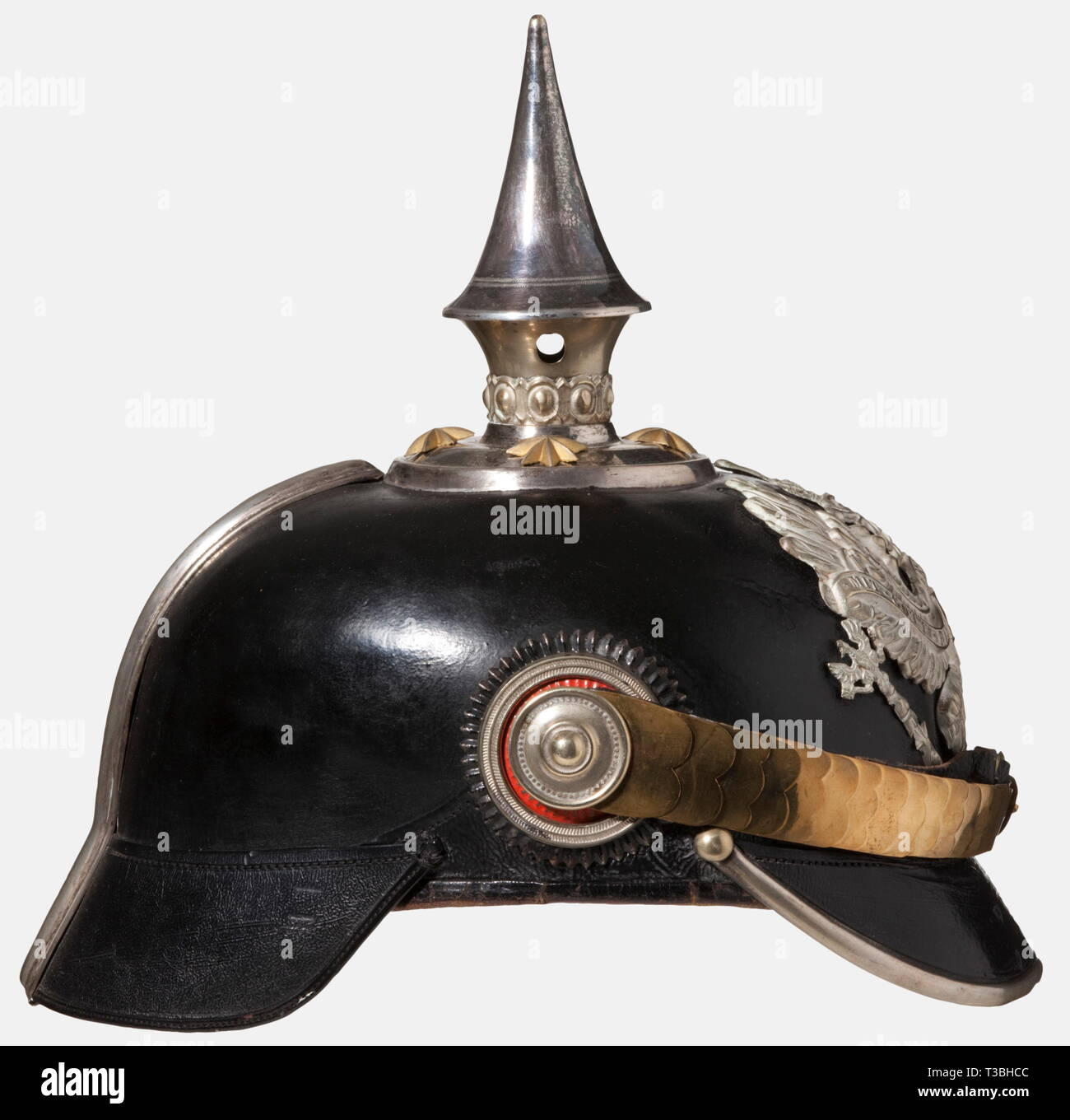A helmet for officers, of the Prussian Line Pioneer Battalions Black-lacquered fiber body, silver-plated mountings. Line unit eagle. Gilded star screws and flat metal chinscales. Officer's cockades. Beige-coloured ribbed silk lining, torn. Good overall condition, signs of age and wear. historic, historical, 19th century, Prussian, Prussia, German, Germany, militaria, military, object, objects, stills, clipping, clippings, cut out, cut-out, cut-outs, helmet, helmets, headgear, headgears, protection, protective, uniform, uniforms, utensil, piece of, Additional-Rights-Clearance-Info-Not-Available - Stock Image