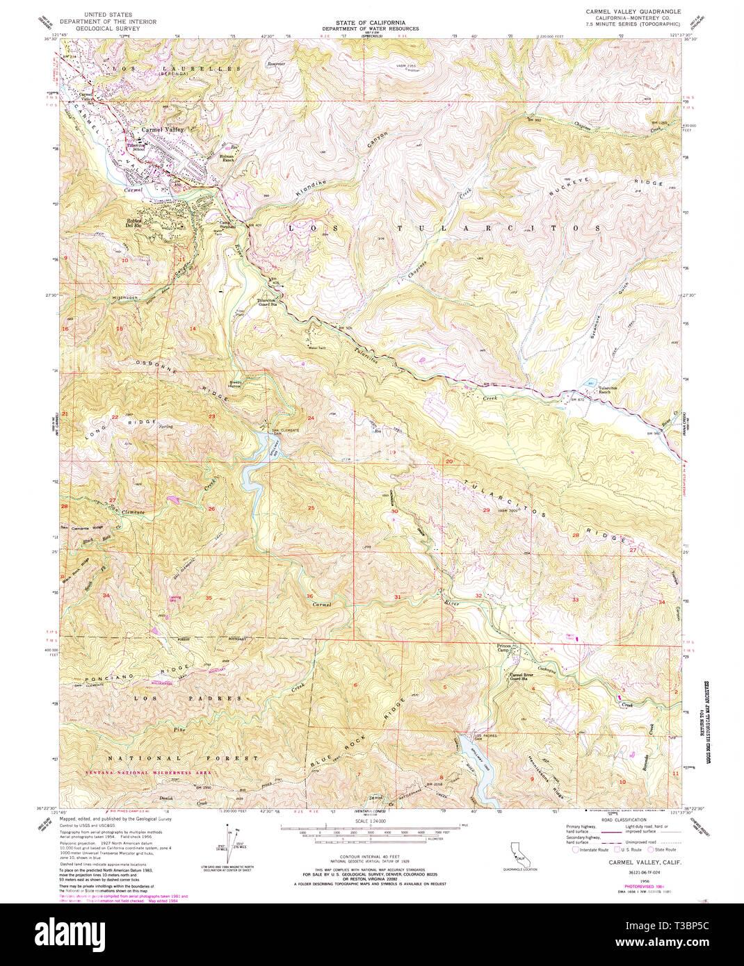 USGS TOPO Map California CA Carmel Valley 288963 1956 24000 ... Carmel California Map on