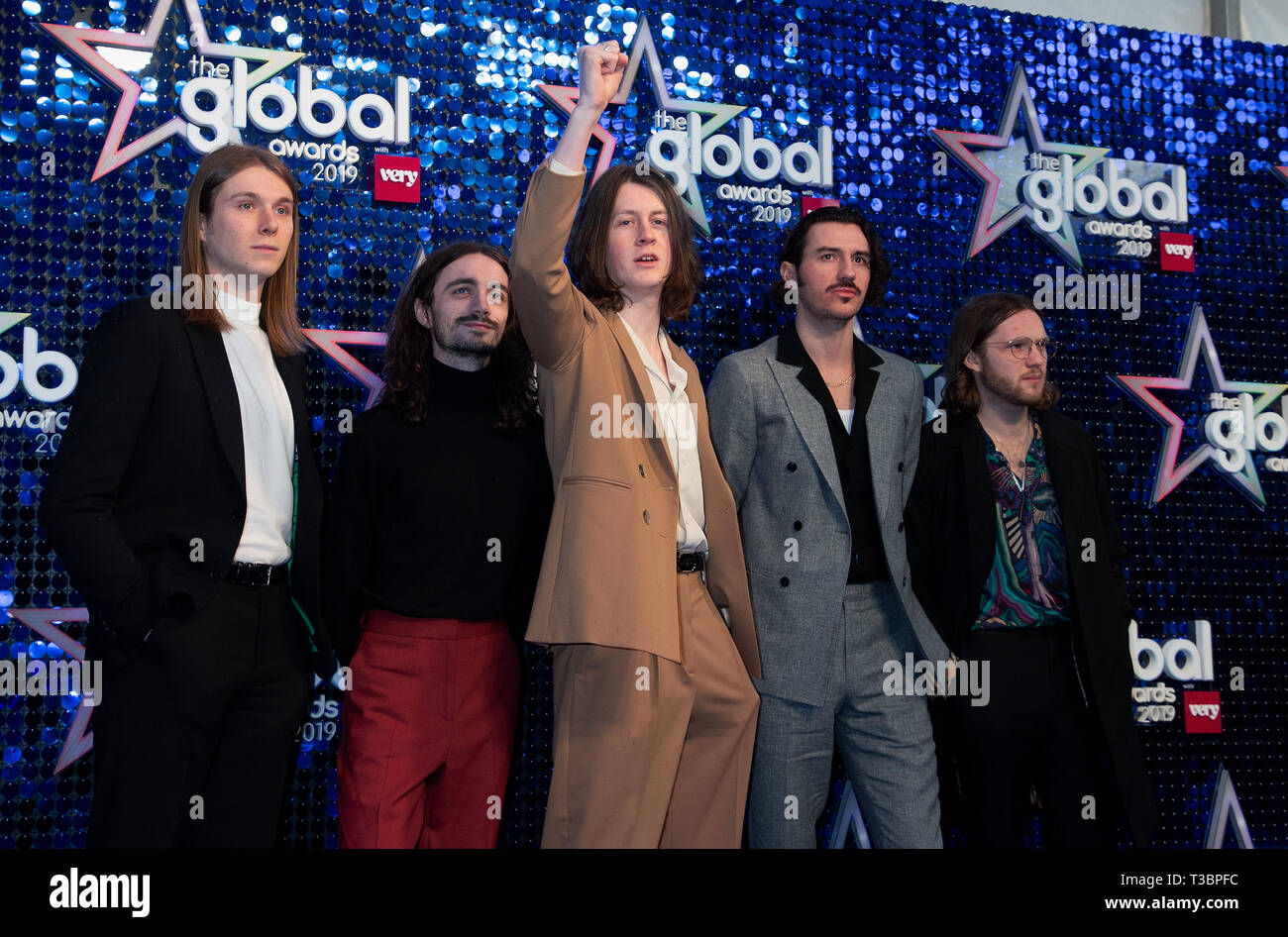 The Global Awards Blue Carpet Arrivals at Eventim Apollo, Hammersmith in London.  Featuring: Tom Ogden, Charlie Salt, Joe Donovan, Josh Dewhurst, Myles Kellock, The Blossoms Where: London, United Kingdom When: 07 Mar 2019 Credit: WENN.com - Stock Image