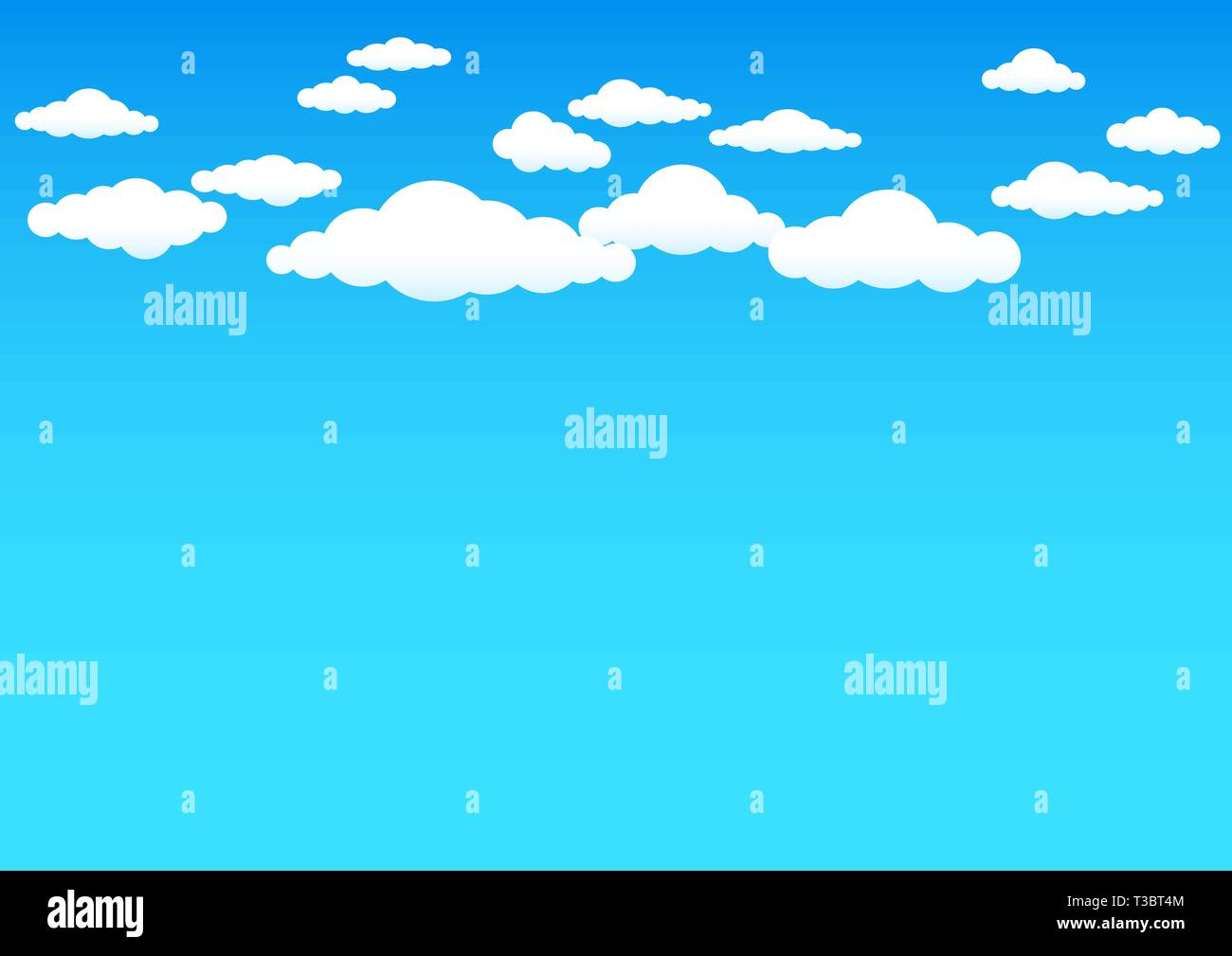 blue sky and cartoon clouds - Stock Image