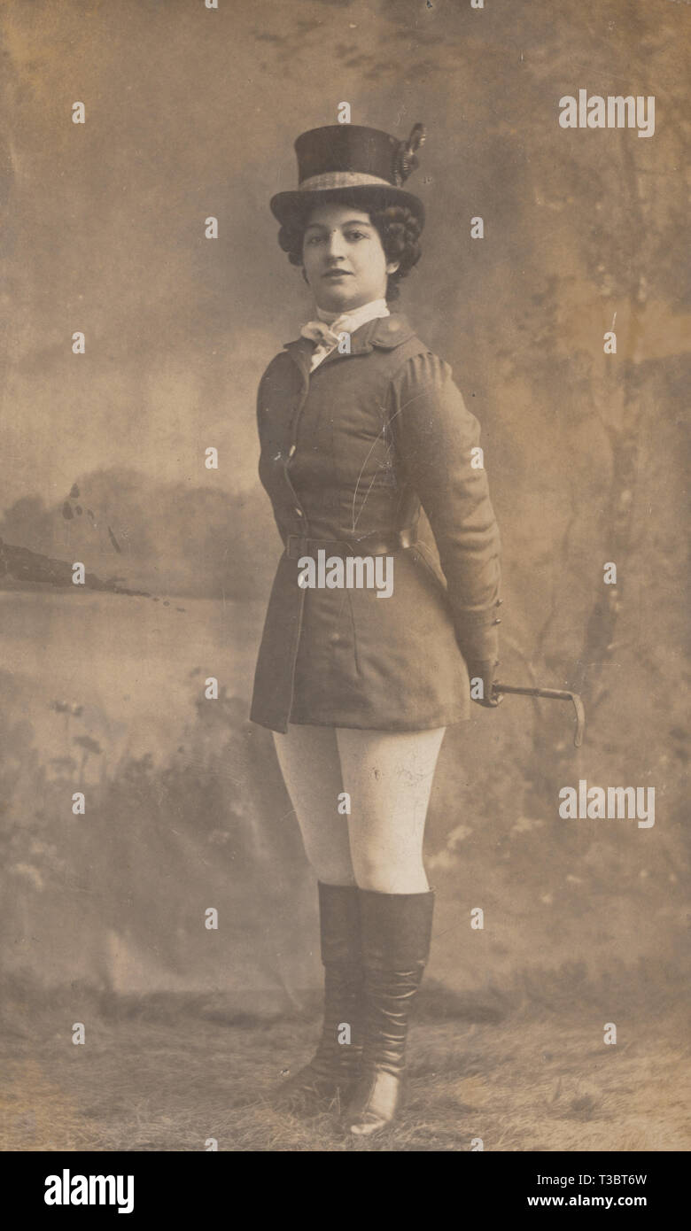 Vintage Preston Lancashire Photographic Postcard Showing A Lady Wearing Either A Theatrical Outfit Or Horse Riding Clothing Stock Photo Alamy