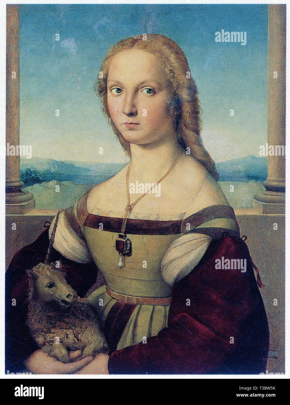 RAPHAEL.LADY WITH THE UNICORN.1504.OIL ON WOOD.65 CM X 51 CM - Stock Image