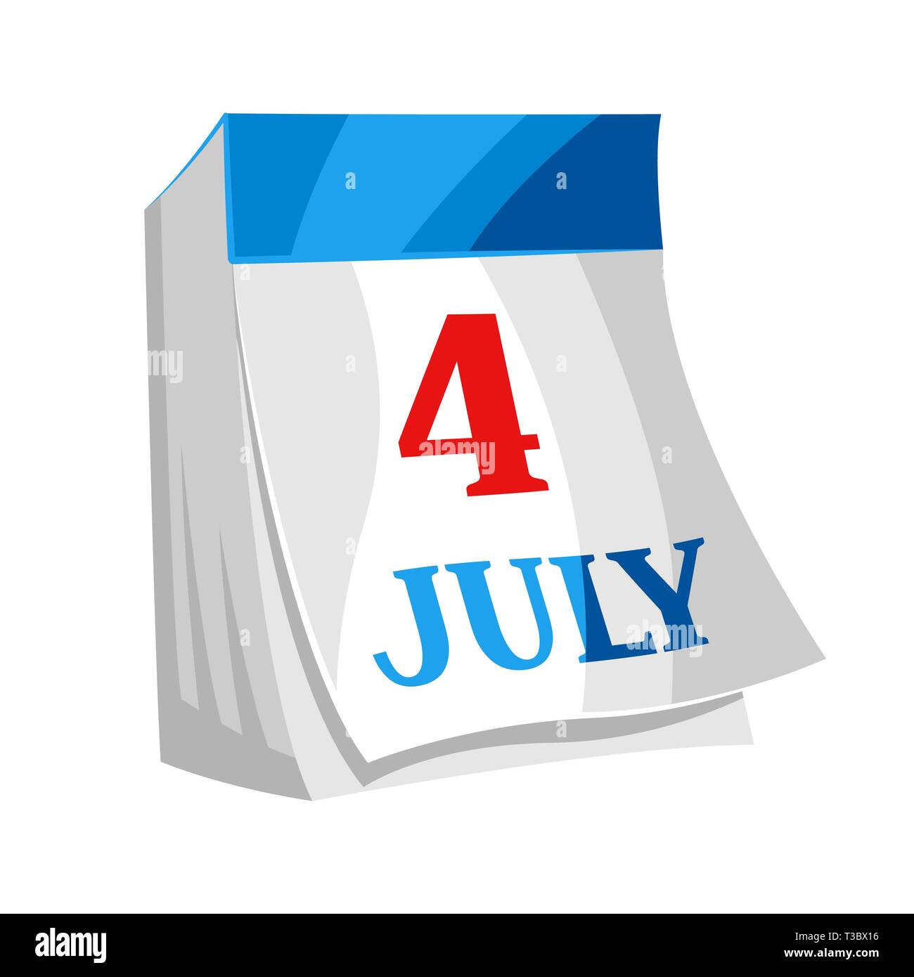 Fourth of July Independence Day tear-off calendar. Isolated on white background. - Stock Image