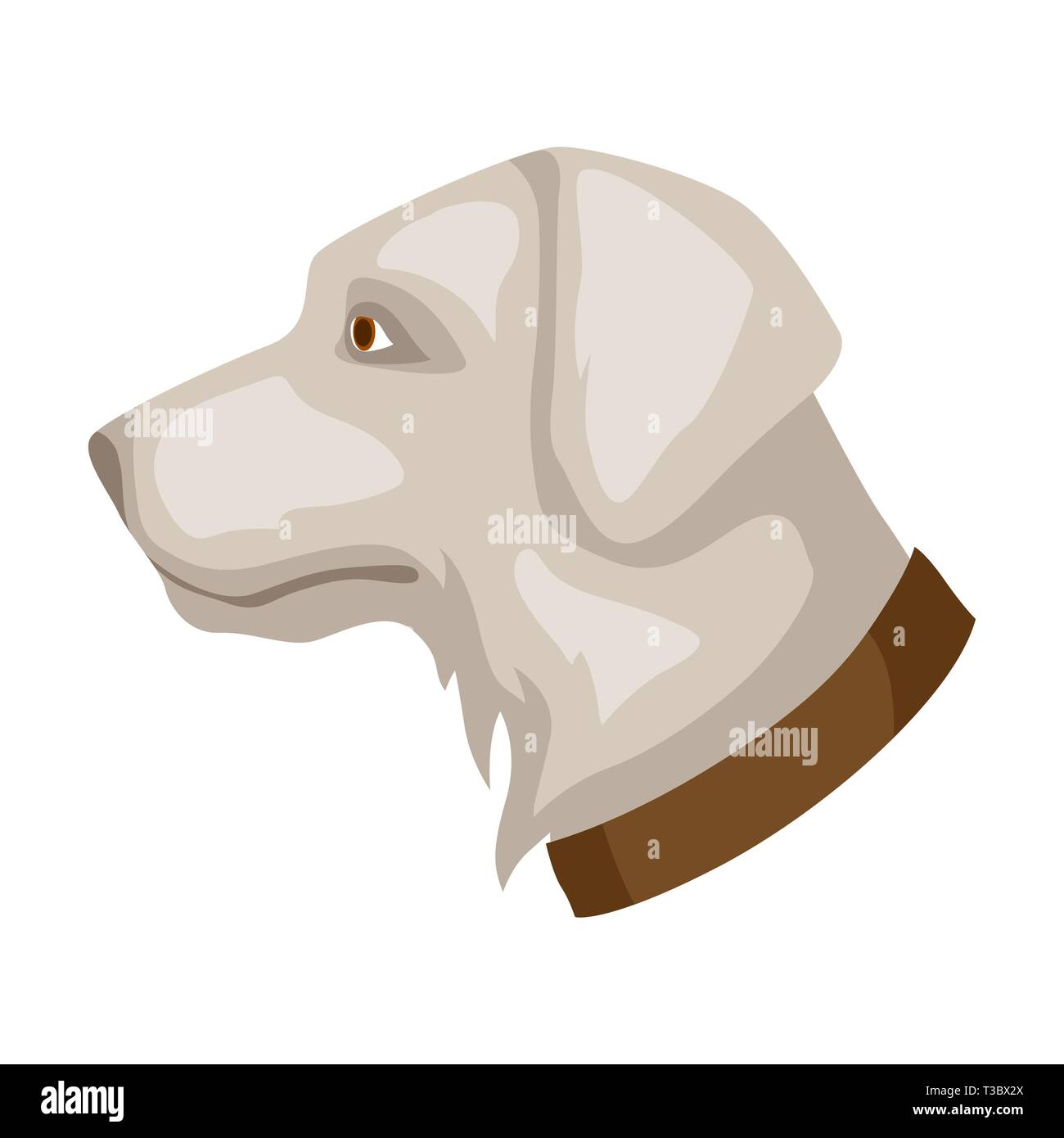Icon of dog head. Illustration solated on white background. - Stock Image