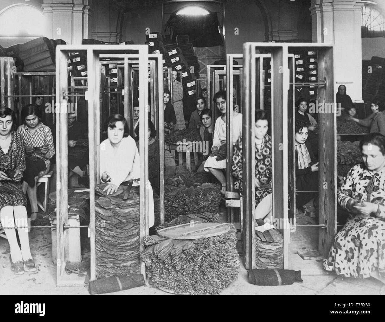women working in manifattura tabacchi, 1930 - Stock Image