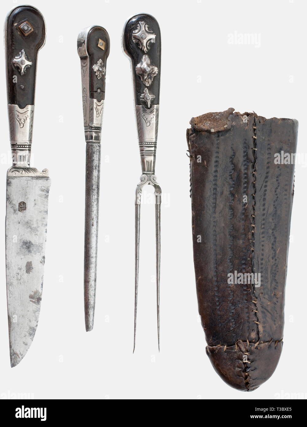 A silver-mounted waggoner's cutlery, Southern German, circa 1800 Matching cutlery consisting of knife, fork with two prongs and sharpening steel. Horn grips with silver mountings engraved with rocaille decoration (some studs are missing). Punched leather sheath, on the side pocketed toothpick made from a fawn's hoof. Length circa 23 cm. historic, historical, 19th century, dagger, daggers, thrusting, thrustings, baton, weapon, arms, weapons, arms, fighting device, object, objects, stills, clipping, cut out, cut-out, cut-outs, Additional-Rights-Clearance-Info-Not-Available - Stock Image