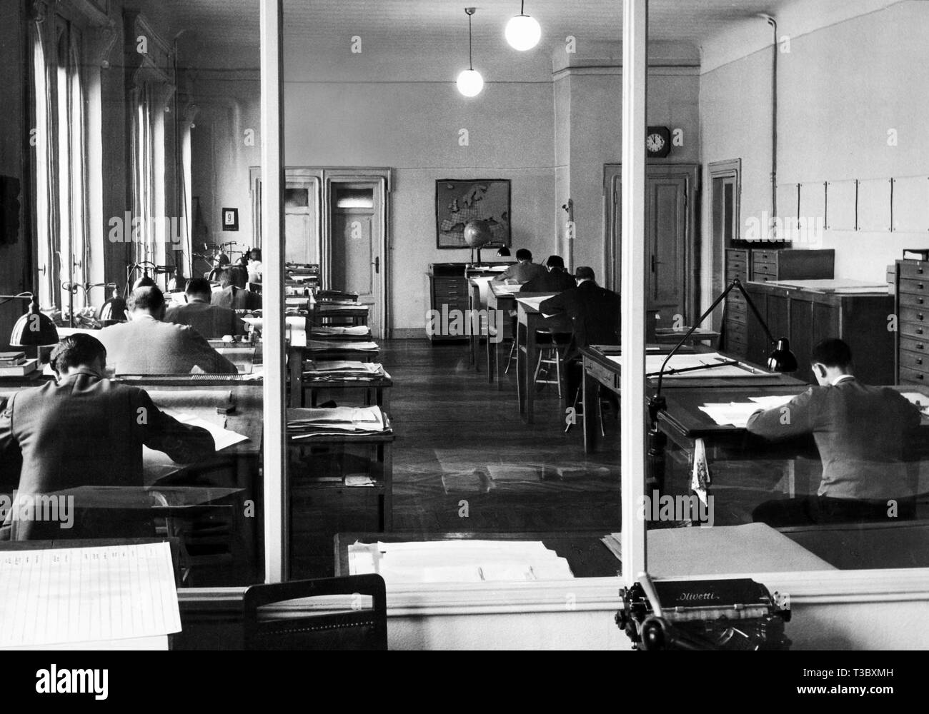 cartographic office, 1954 - Stock Image