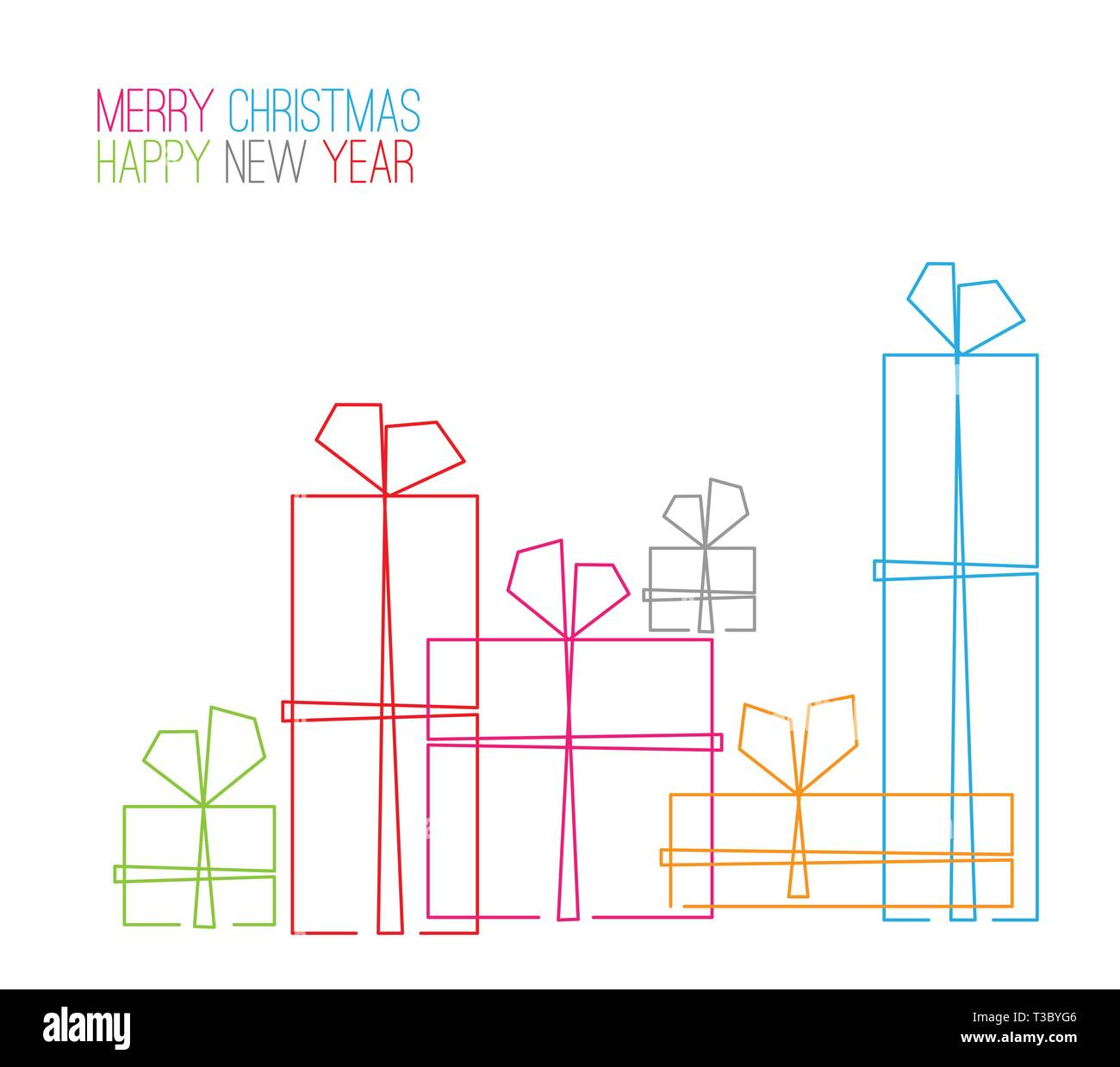 Drawings Of Christmas Presents.Vector Christmas Card Christmas Presents Gift Boxes