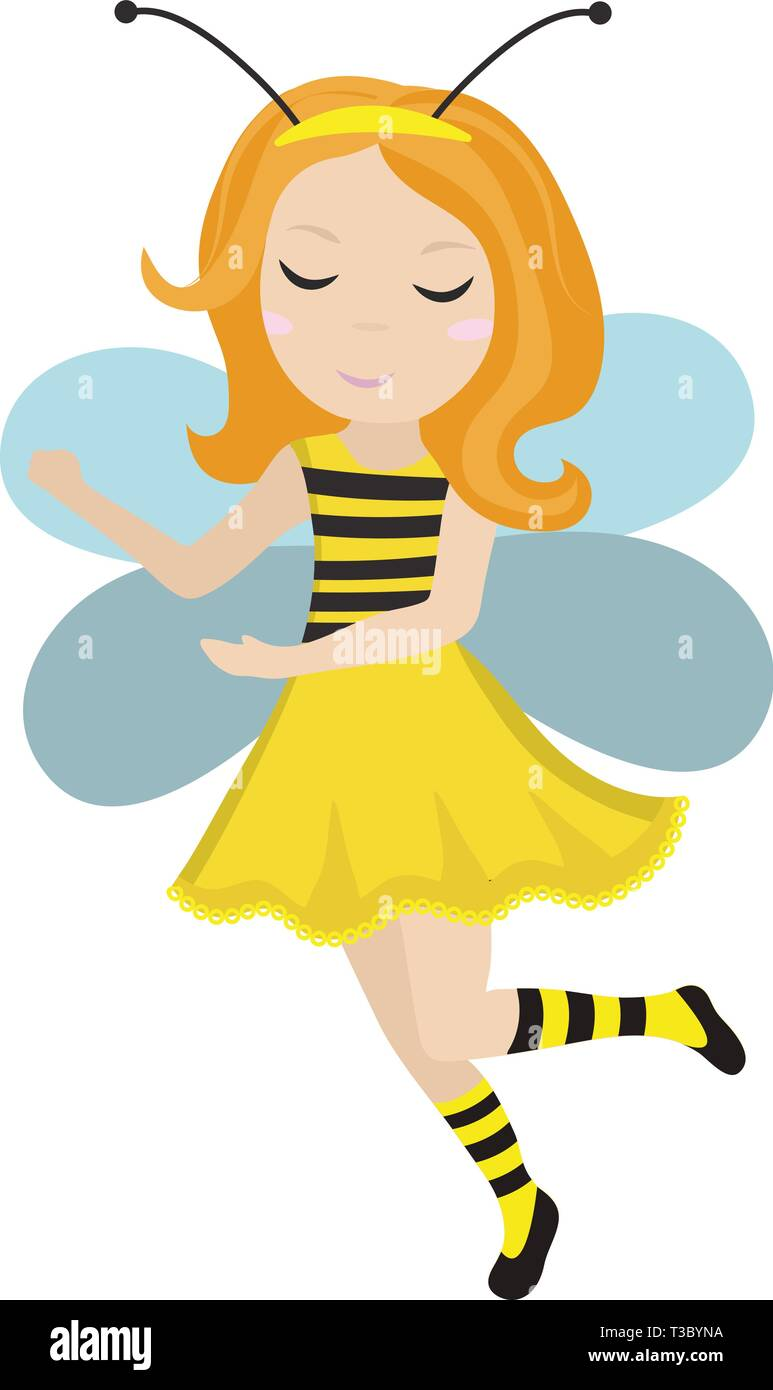 Cute little girl bee icon in flat, cartoon style. Baby carnival costume bee. Isolated on white background. Vector illustration. - Stock Vector