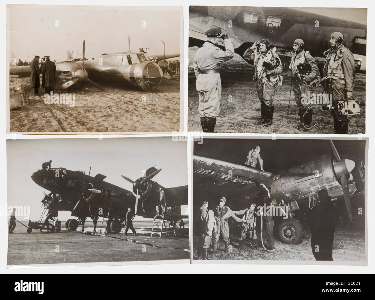 Circa 100 press photos, of aircraft In various formats, from German and foreign press agencies, mostly inscribed on the back. Depicted are the Hs 123, He 111, Ju 87, Ju 88, Do 17, and Fw 200 on the ground and in flight, control room work, interior and exterior views with crews, group photos, night attacks and much more. historic, historical, people, 1930s, 20th century, Air Force, branch of service, branches of service, armed service, armed services, military, militaria, air forces, object, objects, stills, clipping, clippings, cut out, cut-out, cut-outs, photograph, photo,, Editorial-Use-Only - Stock Image
