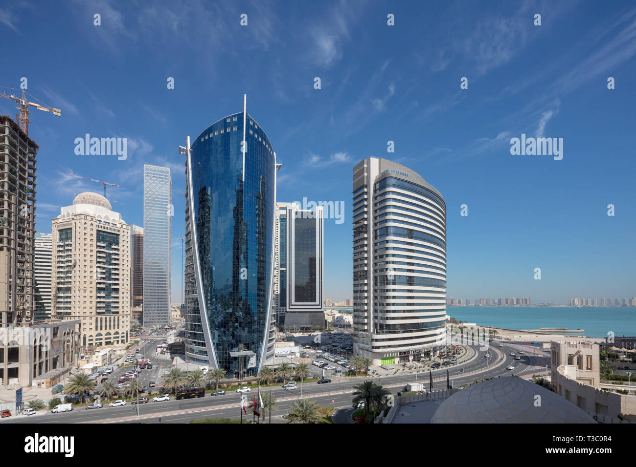 Movenpick hotel and  neighboring buildings, West Bay, Doha, Qatar - Stock Image