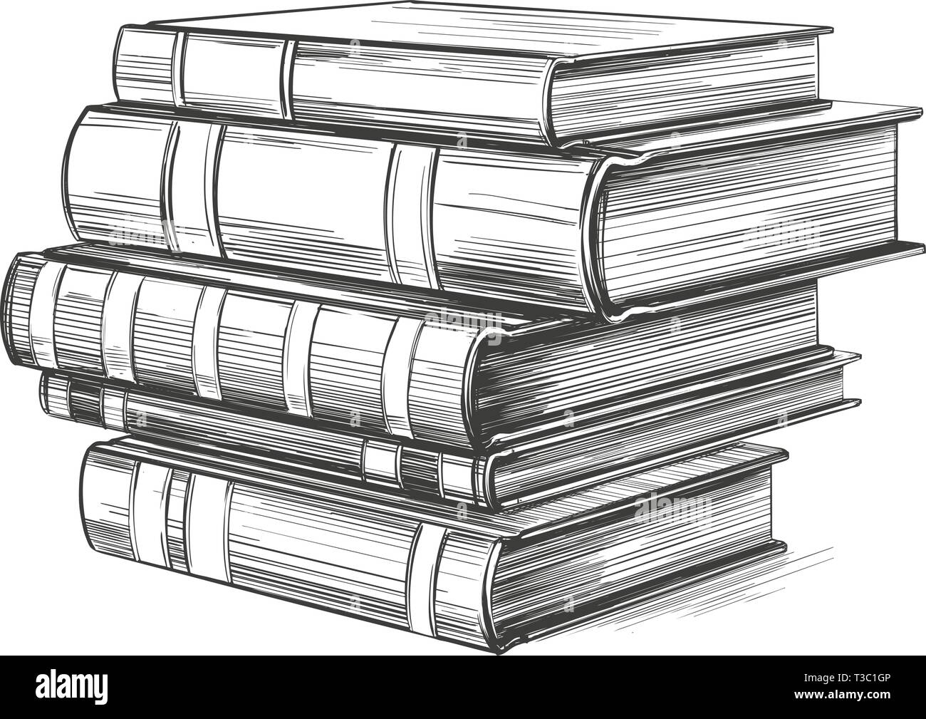 Books, education vintage set hand drawn vector illustration - Stock Vector
