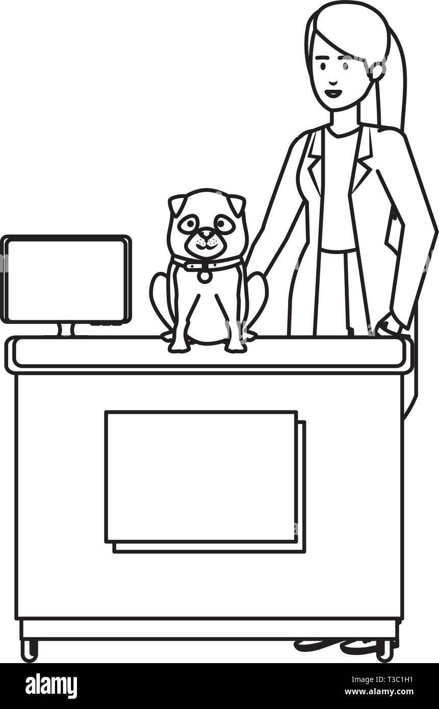 female veterinary with dog in the office - Stock Image